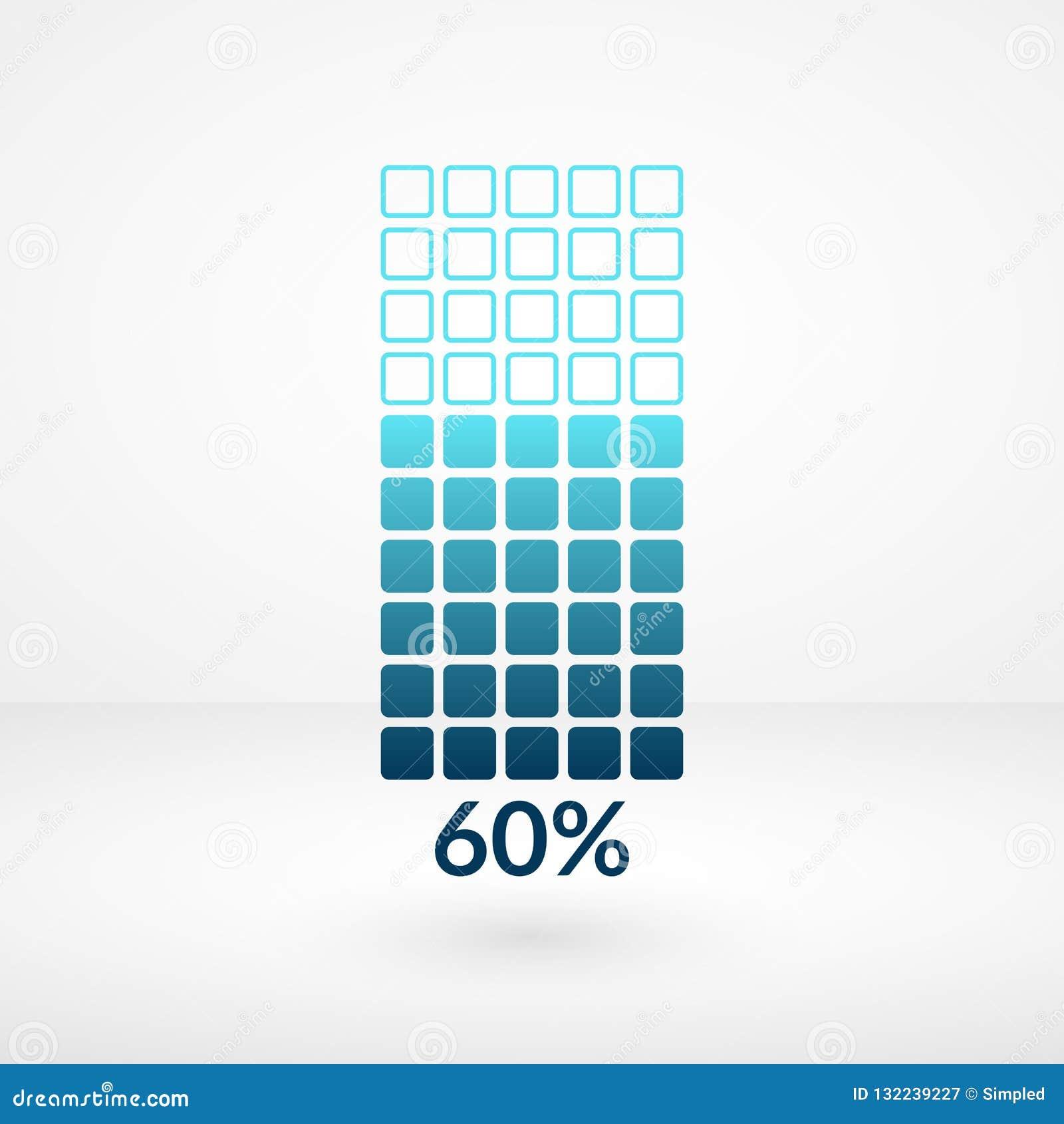 Sesenta símbolos aislados carta cuadrada del por ciento Icono del vector del porcentaje para las finanzas, negocio