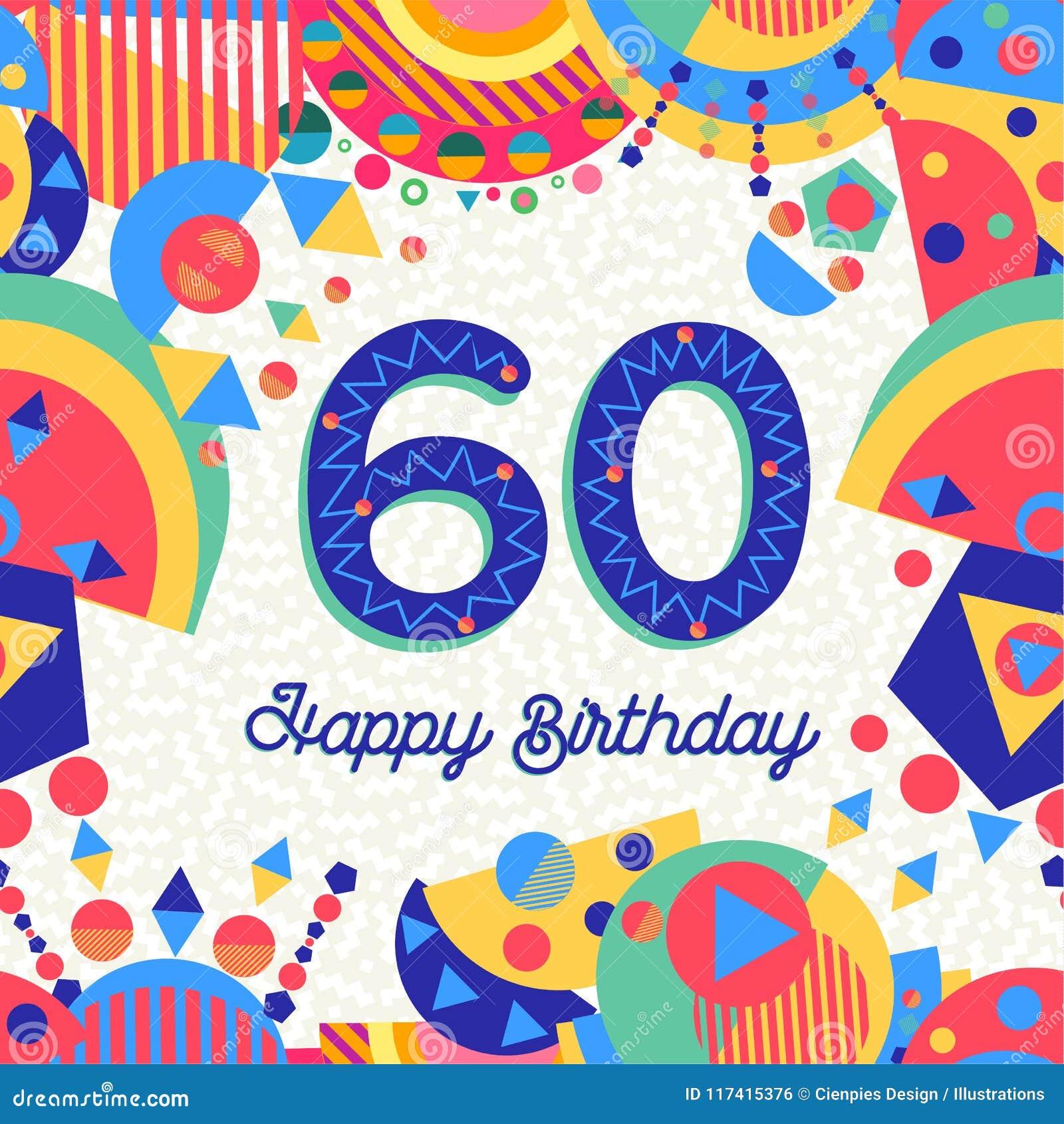 60 Sessanta Cartoline D Auguri Della Festa Di Compleanno Di Anno