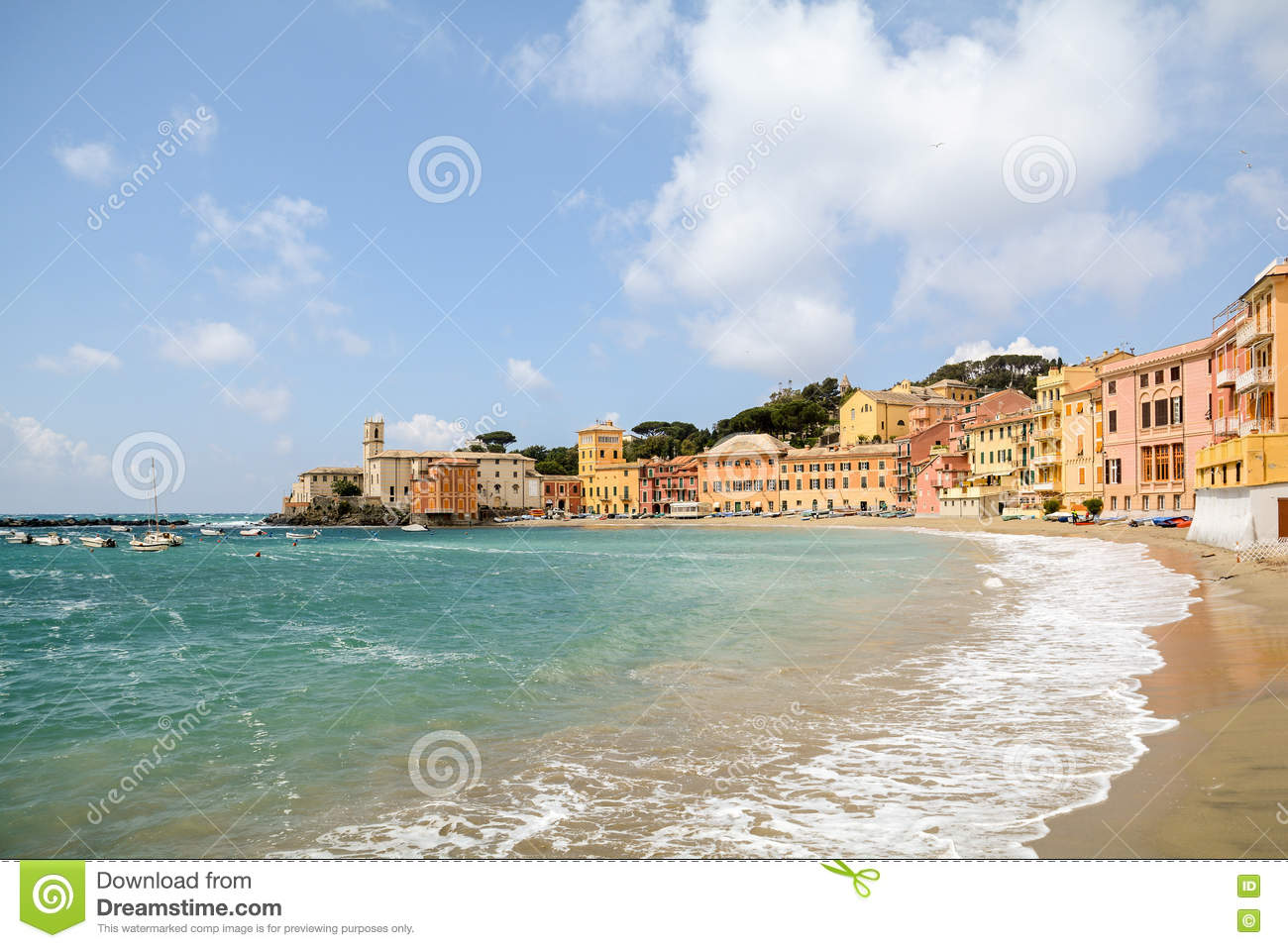Sestri Levante Liguria Seaside With Old Town And Beach Baia Del Silenzio Bay Of Silence Italy Stock Photo Image Of French Holiday 72624654