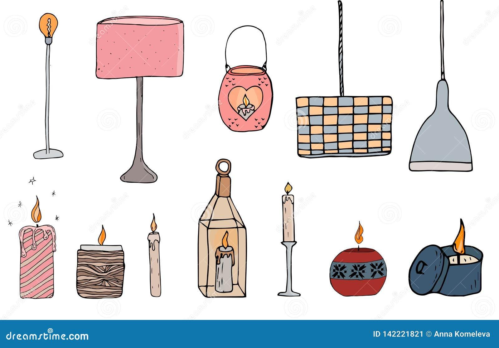 Setów cosy wektorowi ilustracyjni elementy