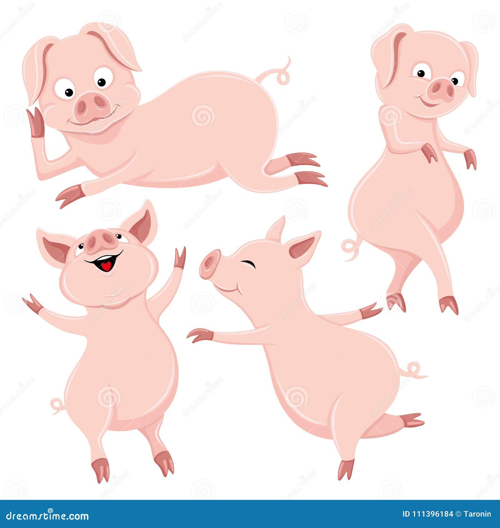 Set śliczne świnie