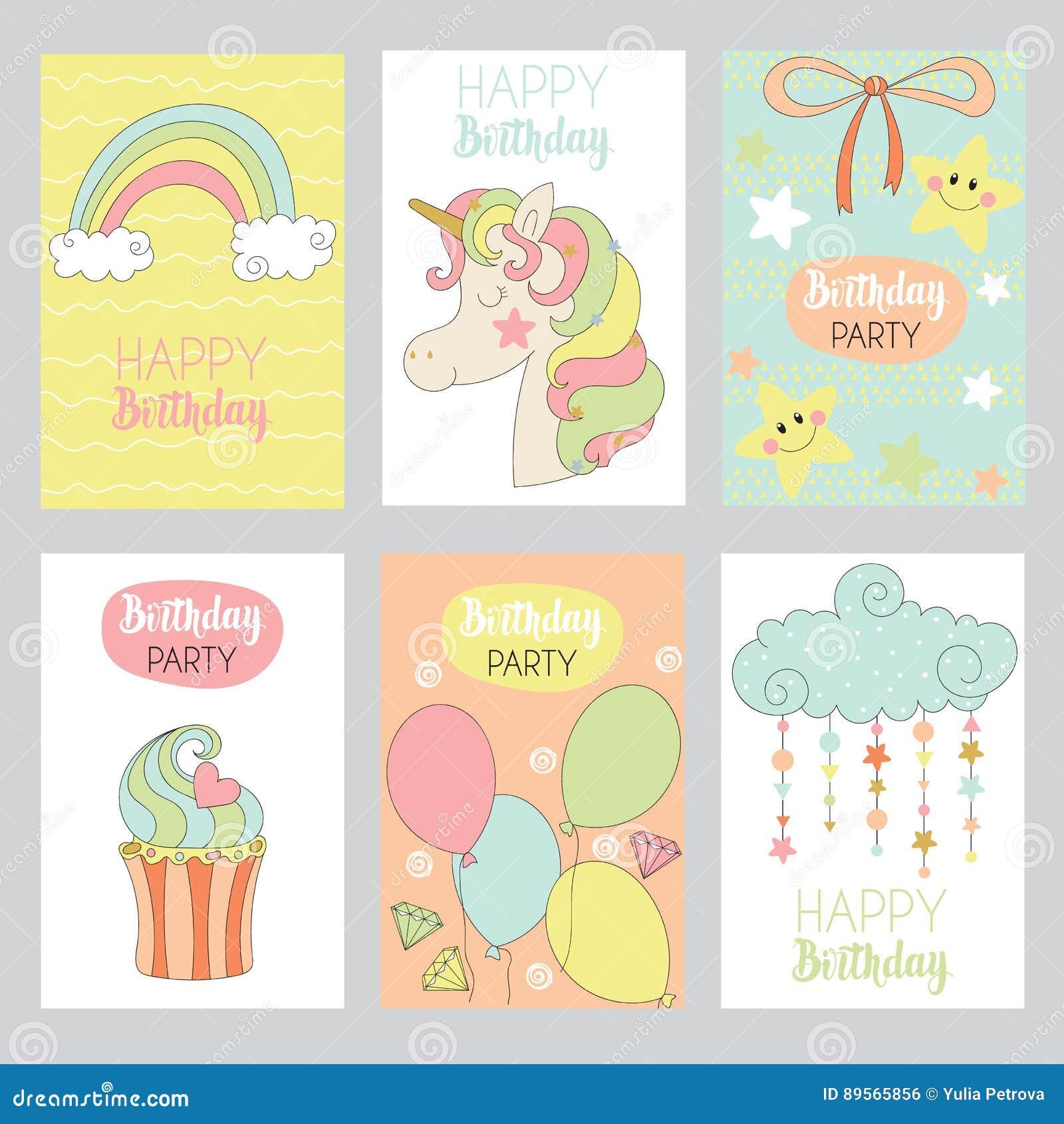 Set ślicznego dziecka urodzinowe karty