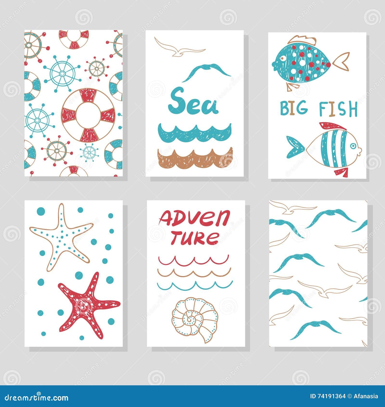 Set śliczni karta szablony dla twój projekta Doodle denne wektorowe ilustracje