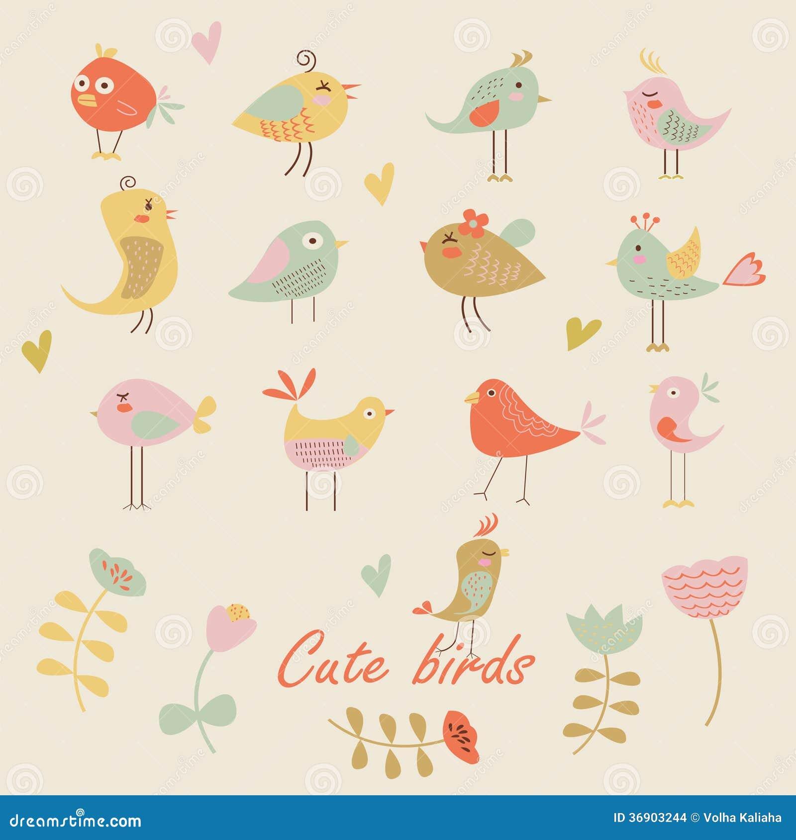 Set śliczni ptaki