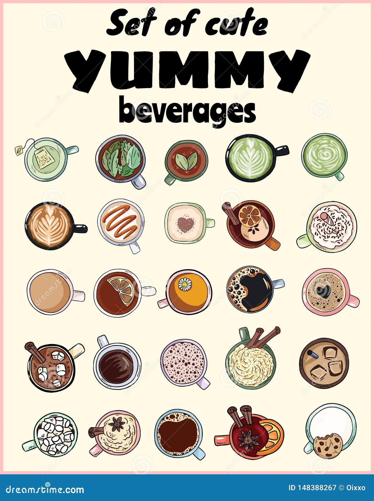 Set śliczni yummy napoje Filiżanki herbaty i kawy doodles Ręka rysująca kreskówka stylu kolekcja doodles