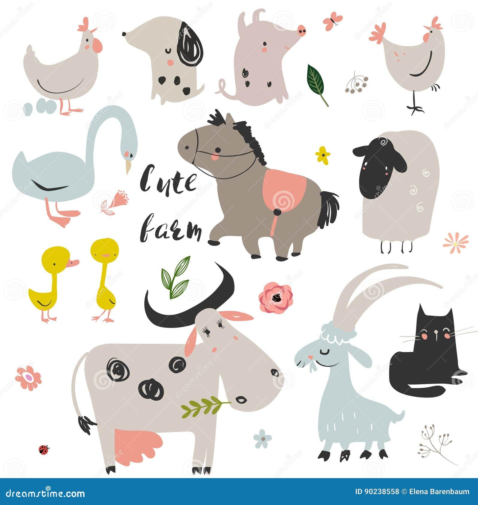 Set śliczni zwierzęta gospodarskie