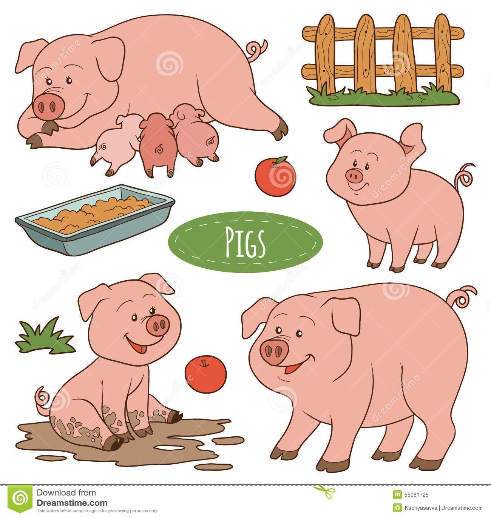 Set śliczni zwierzęta gospodarskie i przedmioty, wektorowe rodzinne świnie