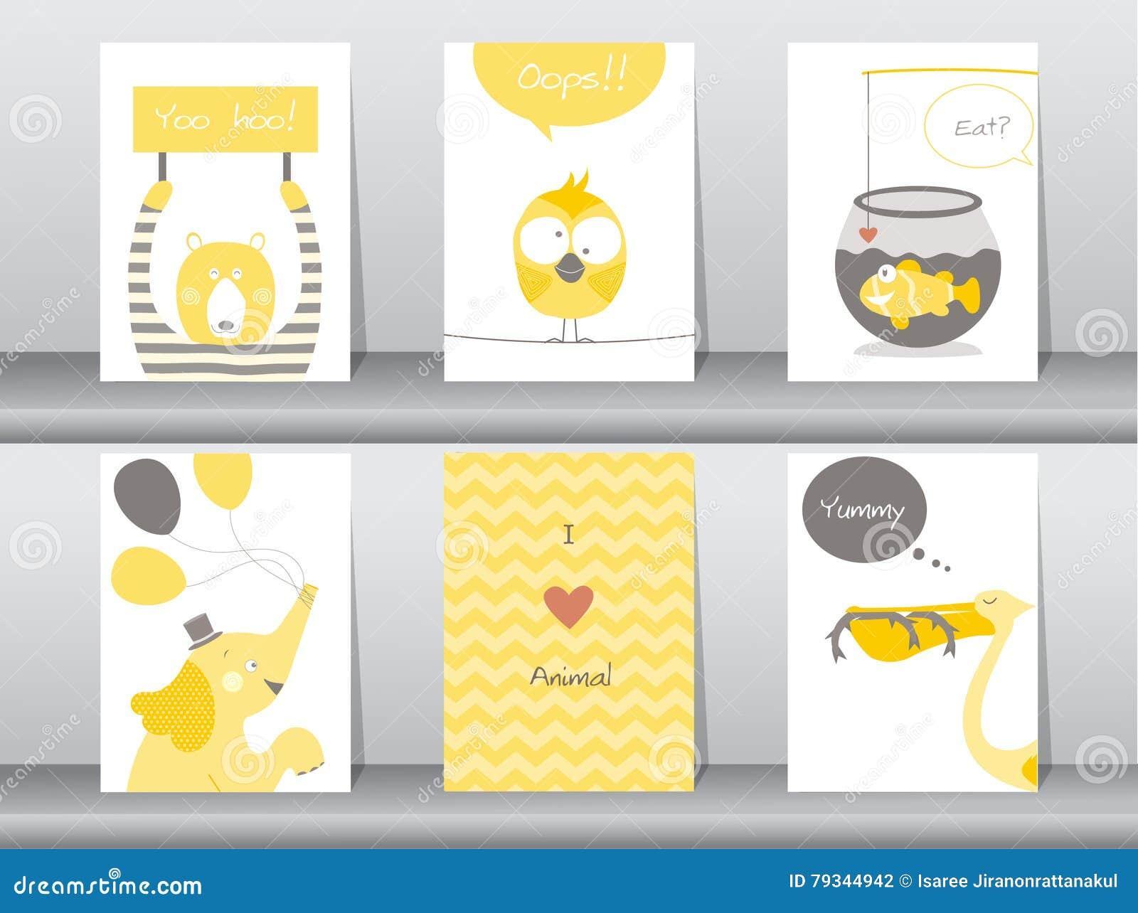 Set śliczni Zwierzęta Plakaty Szablon Karty Słoń Ptak