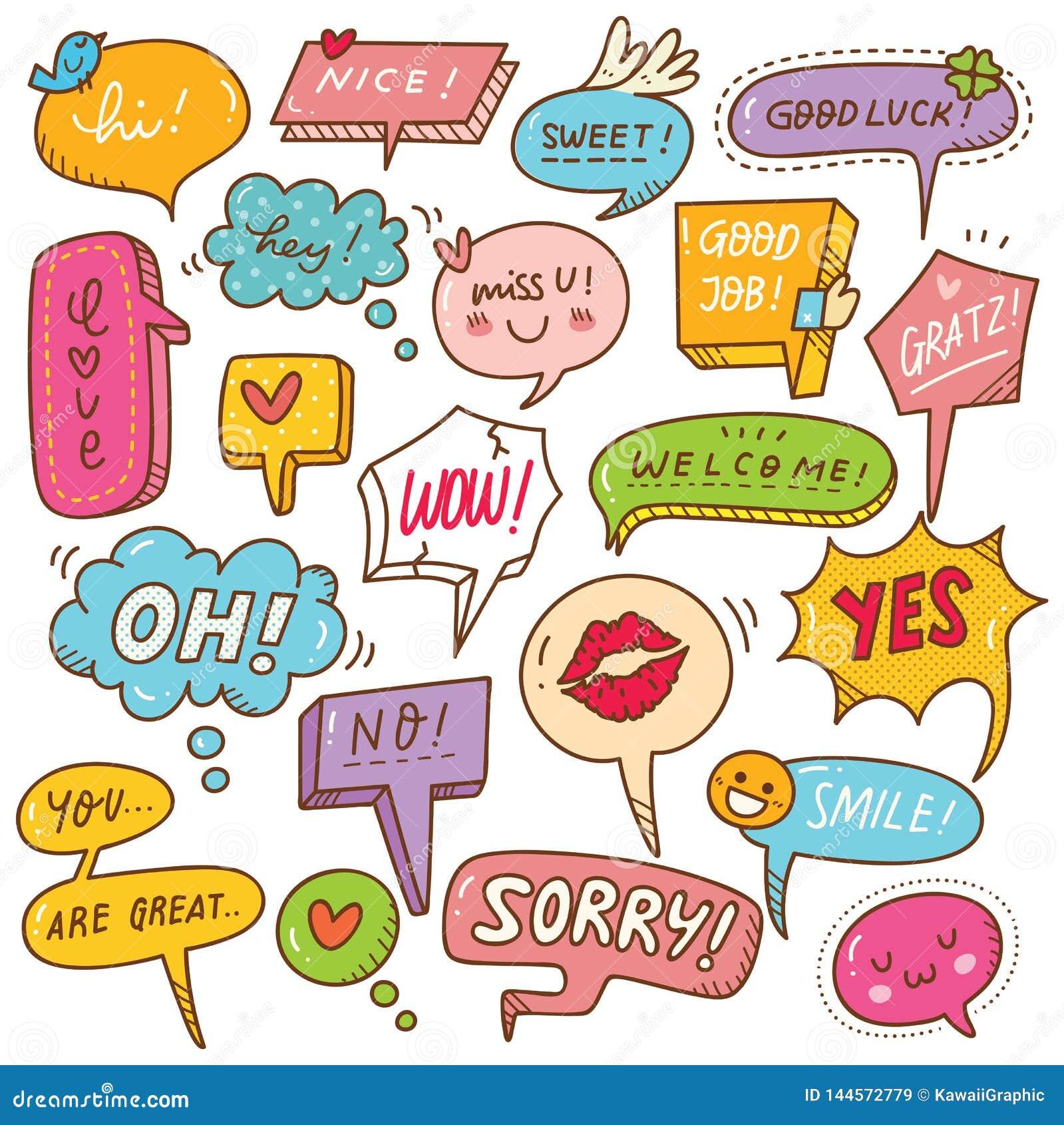 Set śliczny mowa bąbel w doodle stylu
