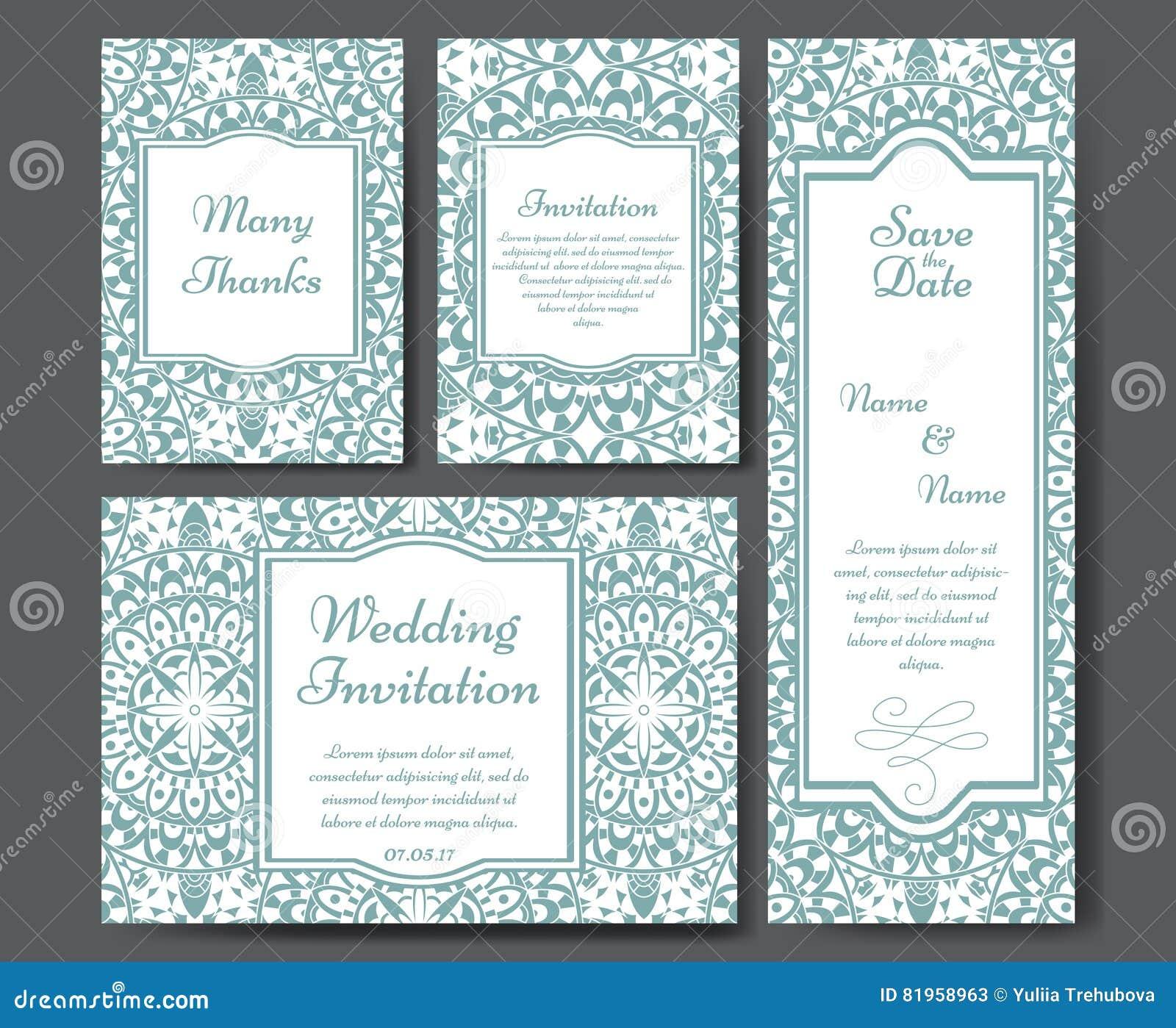 Set ślubni zaproszenia Ślubnych kart szablon z indywidualnym pojęciem Projekt dla zaproszenia, dziękuje ciebie karcianego, save d