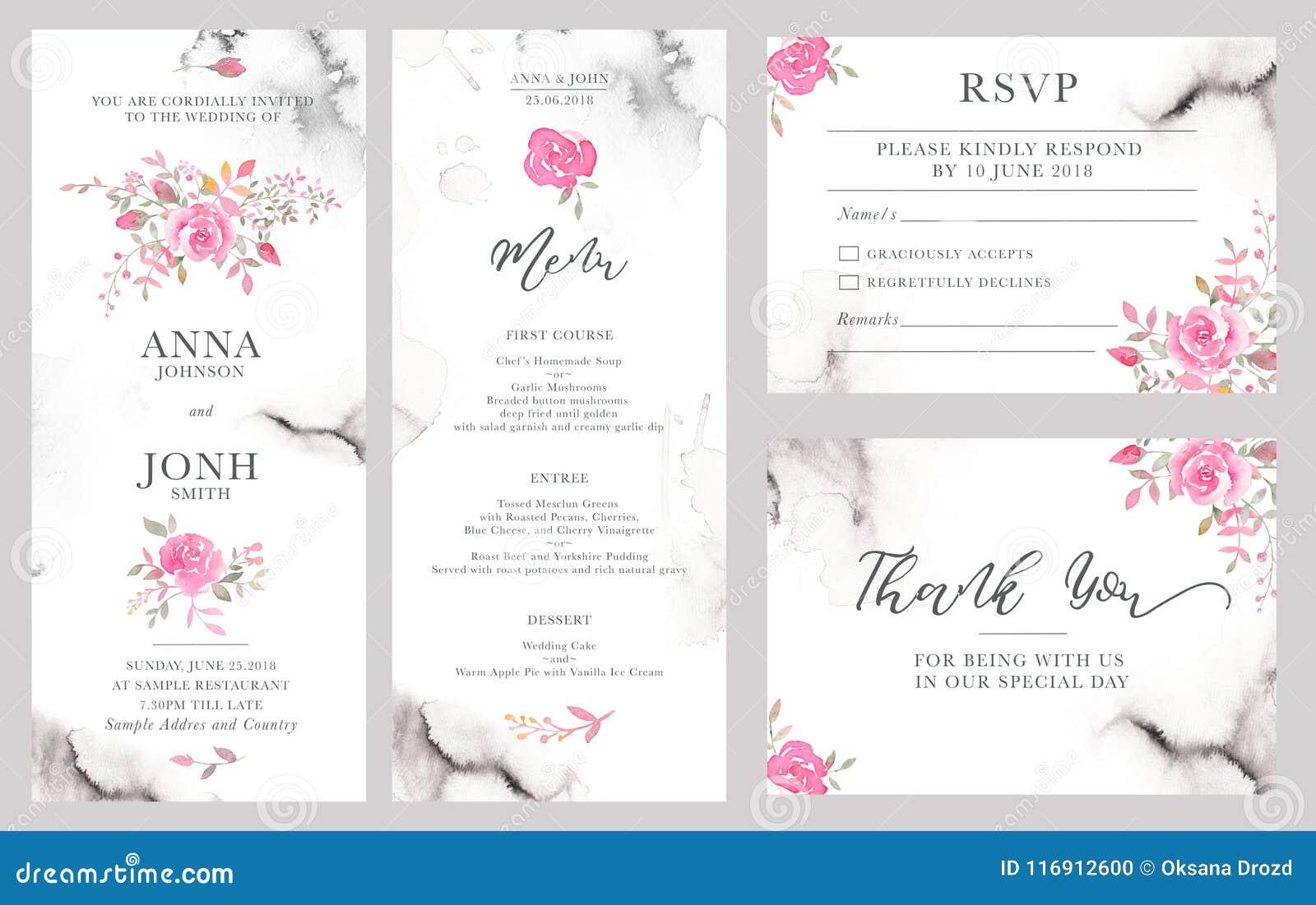 Set ślubni zaproszenie karty szablony z akwarelą wzrastał kwiaty