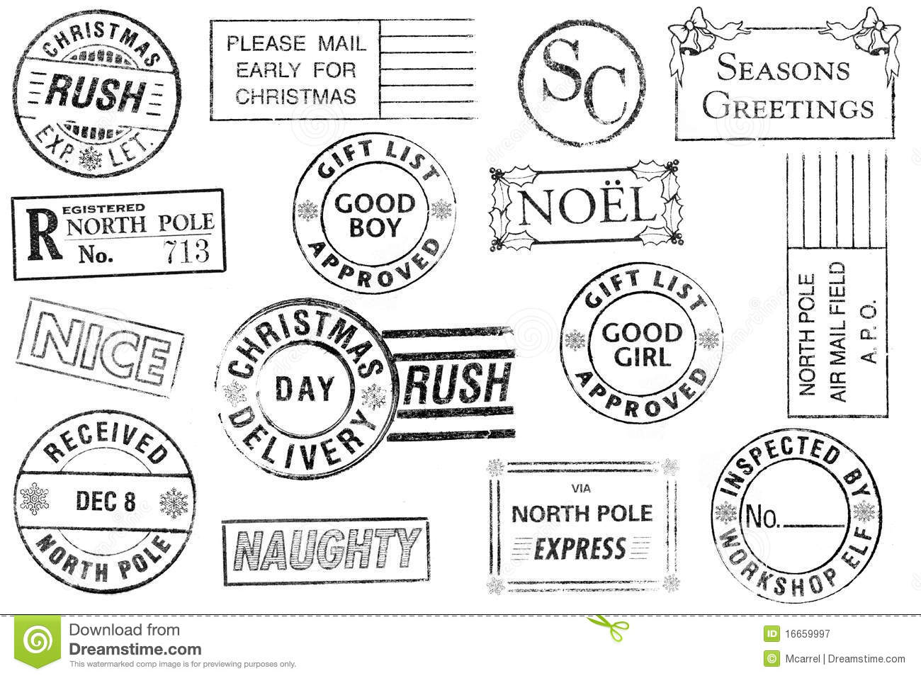 North Pole Delivery Stamp Vector Image Set Of 15 Christmas Stamps