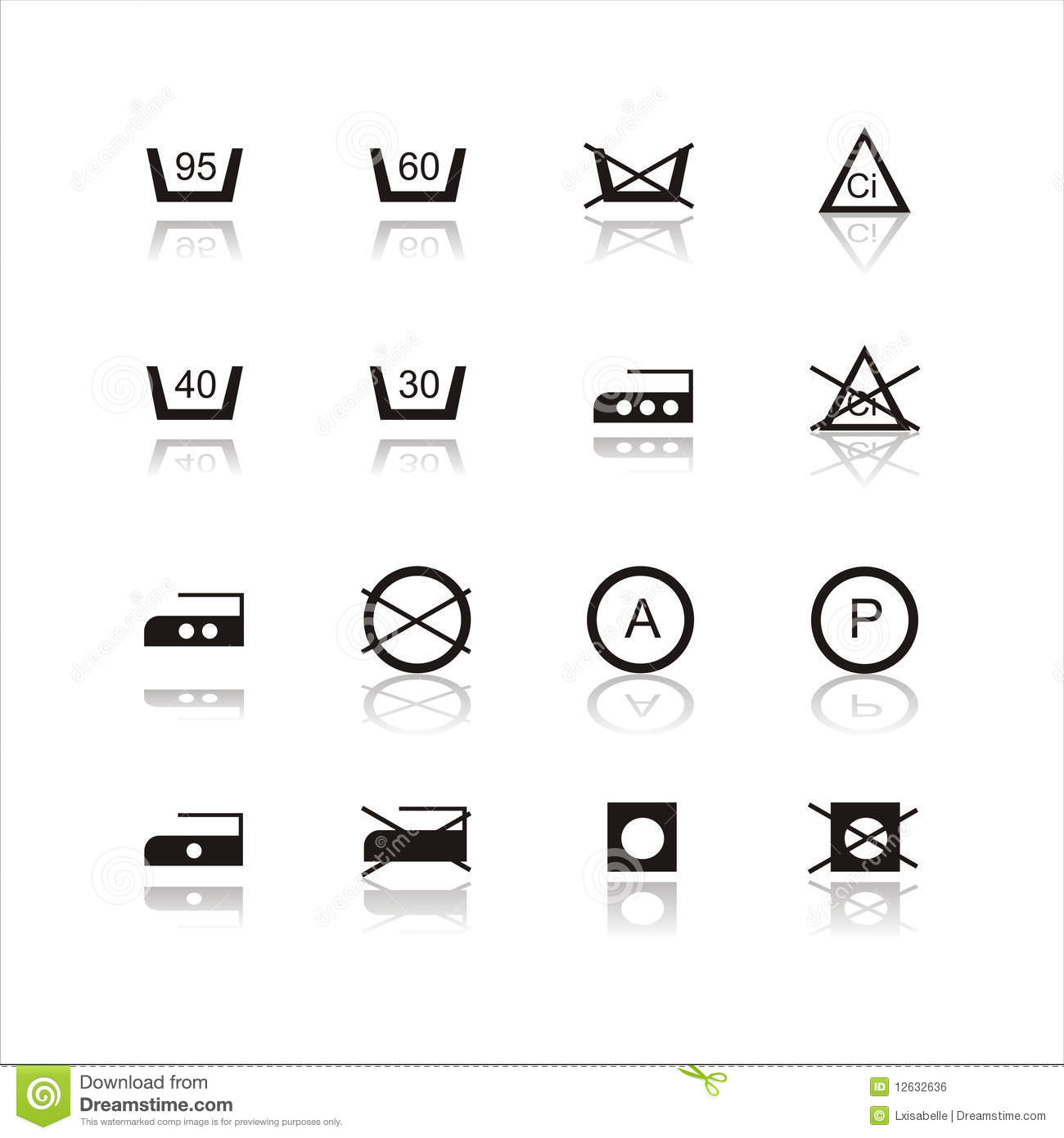 Laundry Signs Set Of 16 Laundry Signs Stock Vectorimage Of Black  12632636