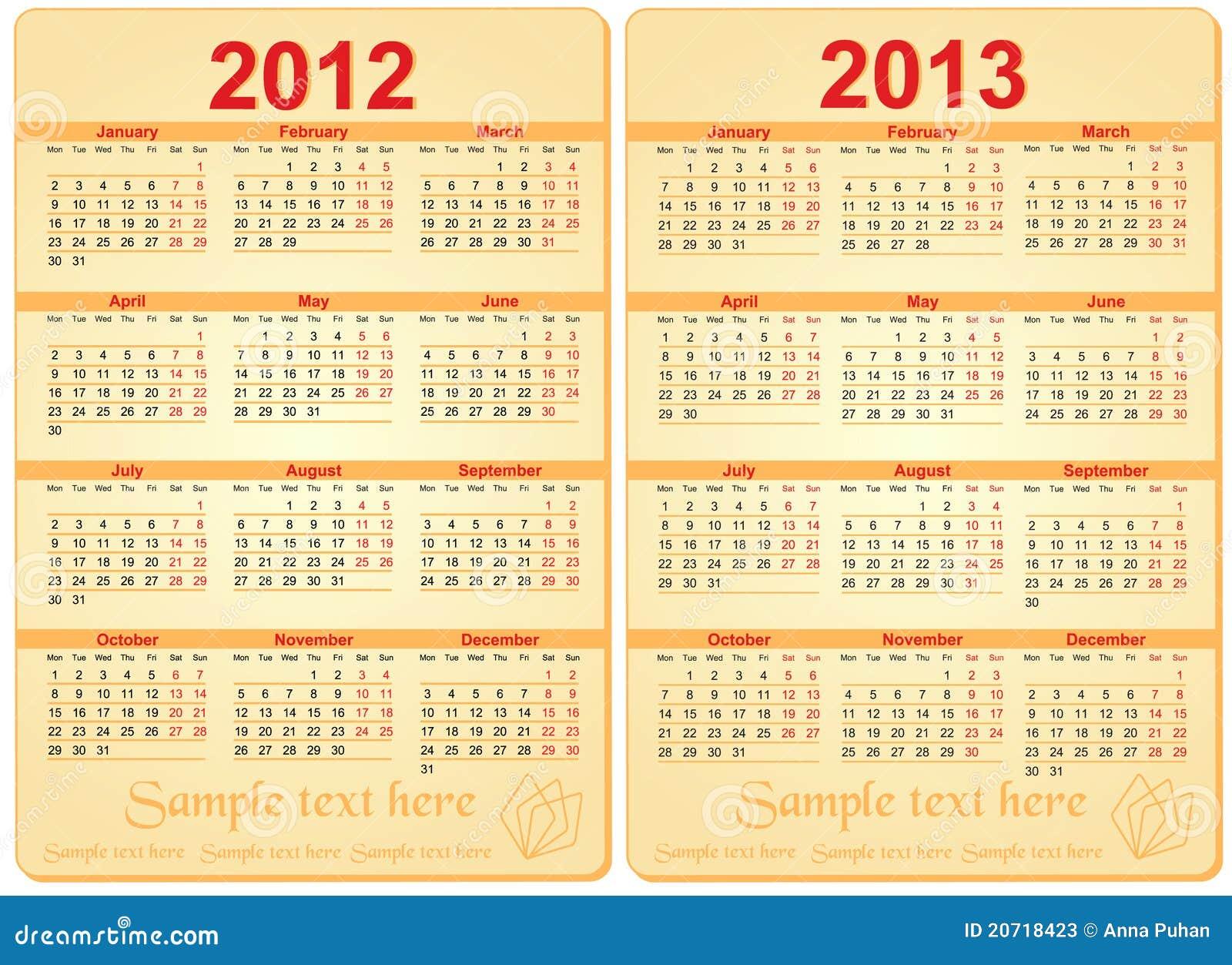 Set Of 2012 And 2013 Calendar Stock Vector