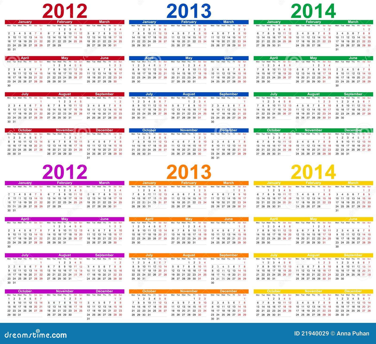 Набор цветной календарь 2012, 2013 и 2014.  2013,апрель,август,справочная информация,календарь,круги,цвет,дата,день...