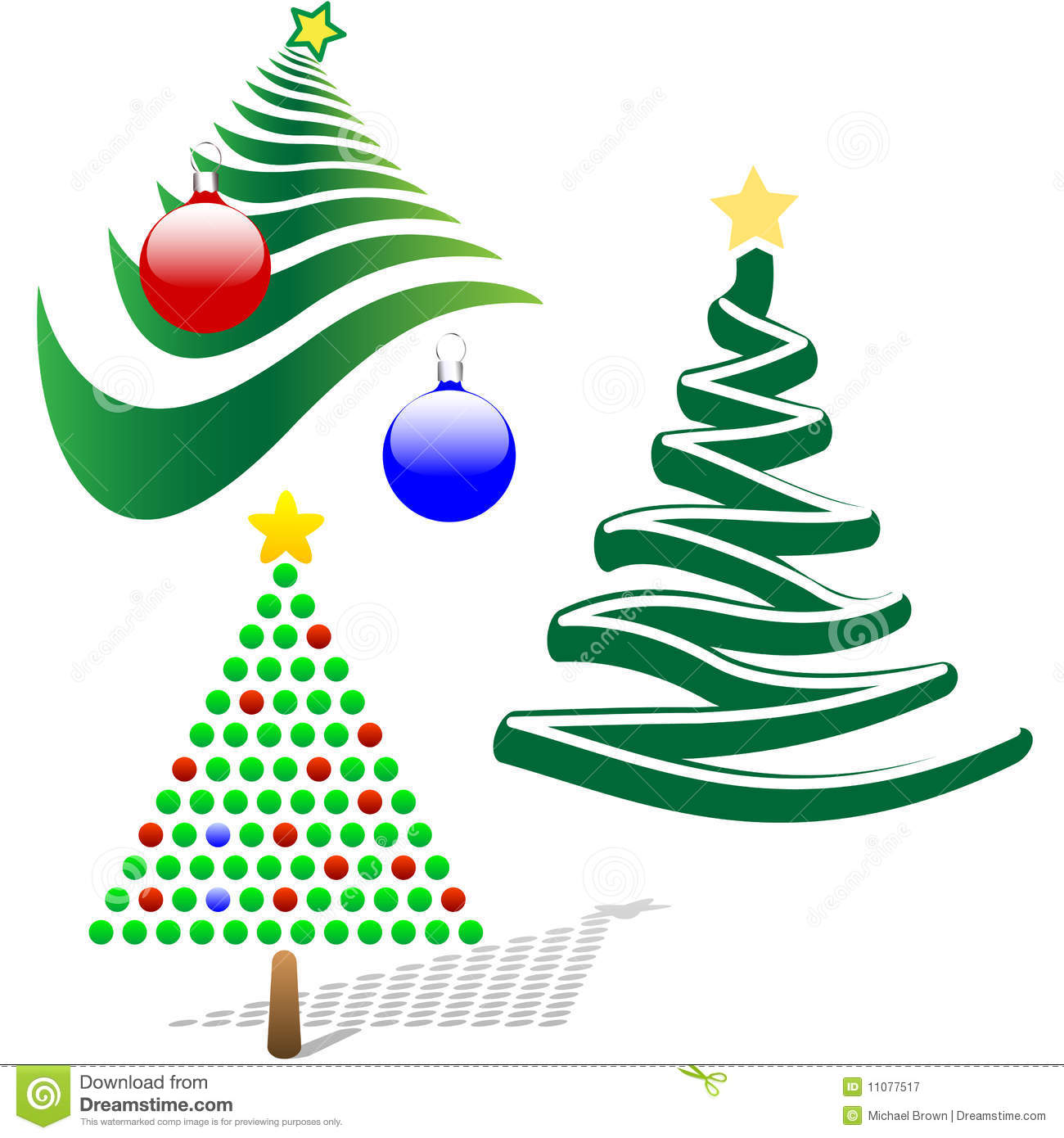 Set Of 3 Merry Christmas Tree Design Elements Stock Vector ...