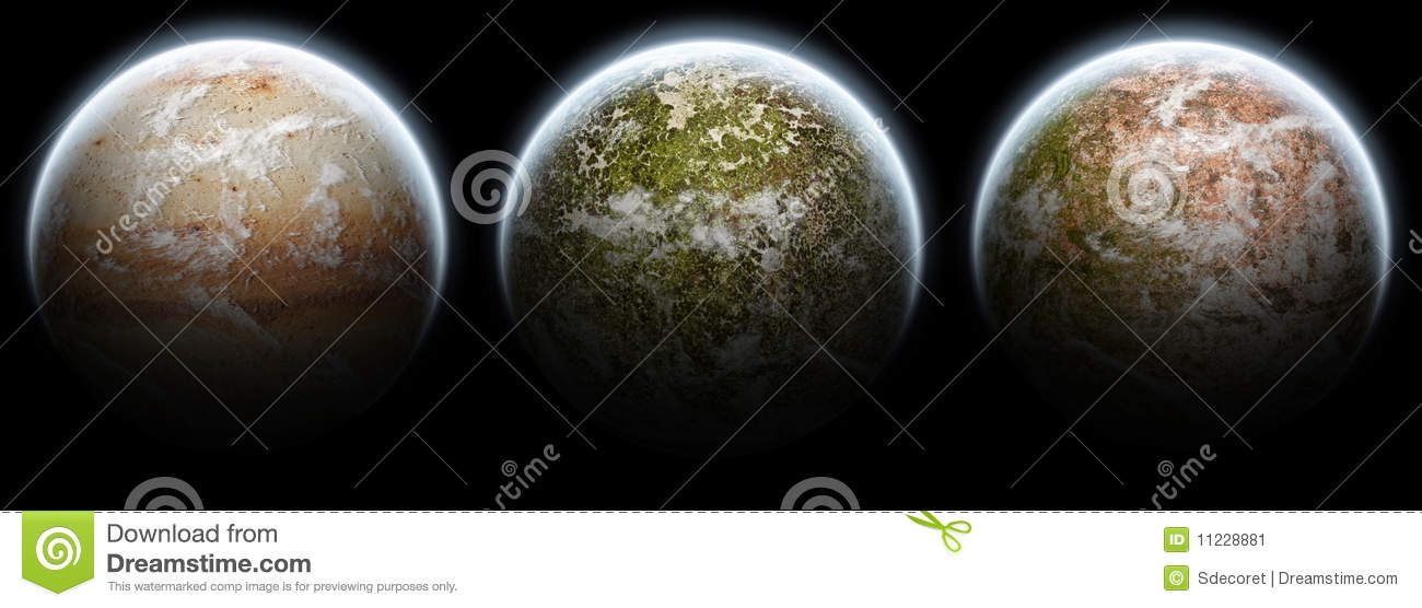 Set of 3 planets moons on a black background