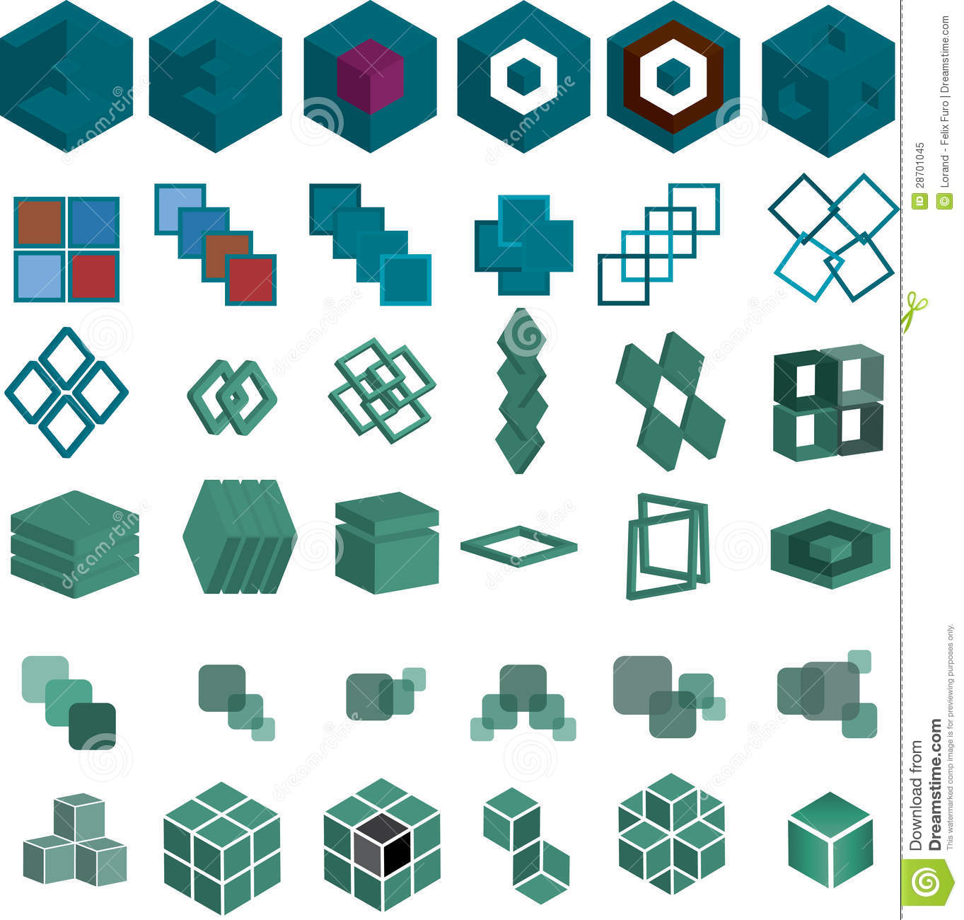 Set Of 36 Cube And Square Pieces For Logo Stock Vector