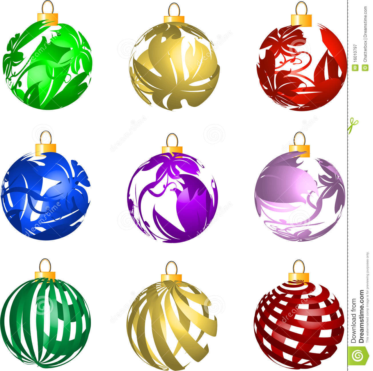 Set Of 3D Transparent Christmas Balls Decorations Royalty Free ...