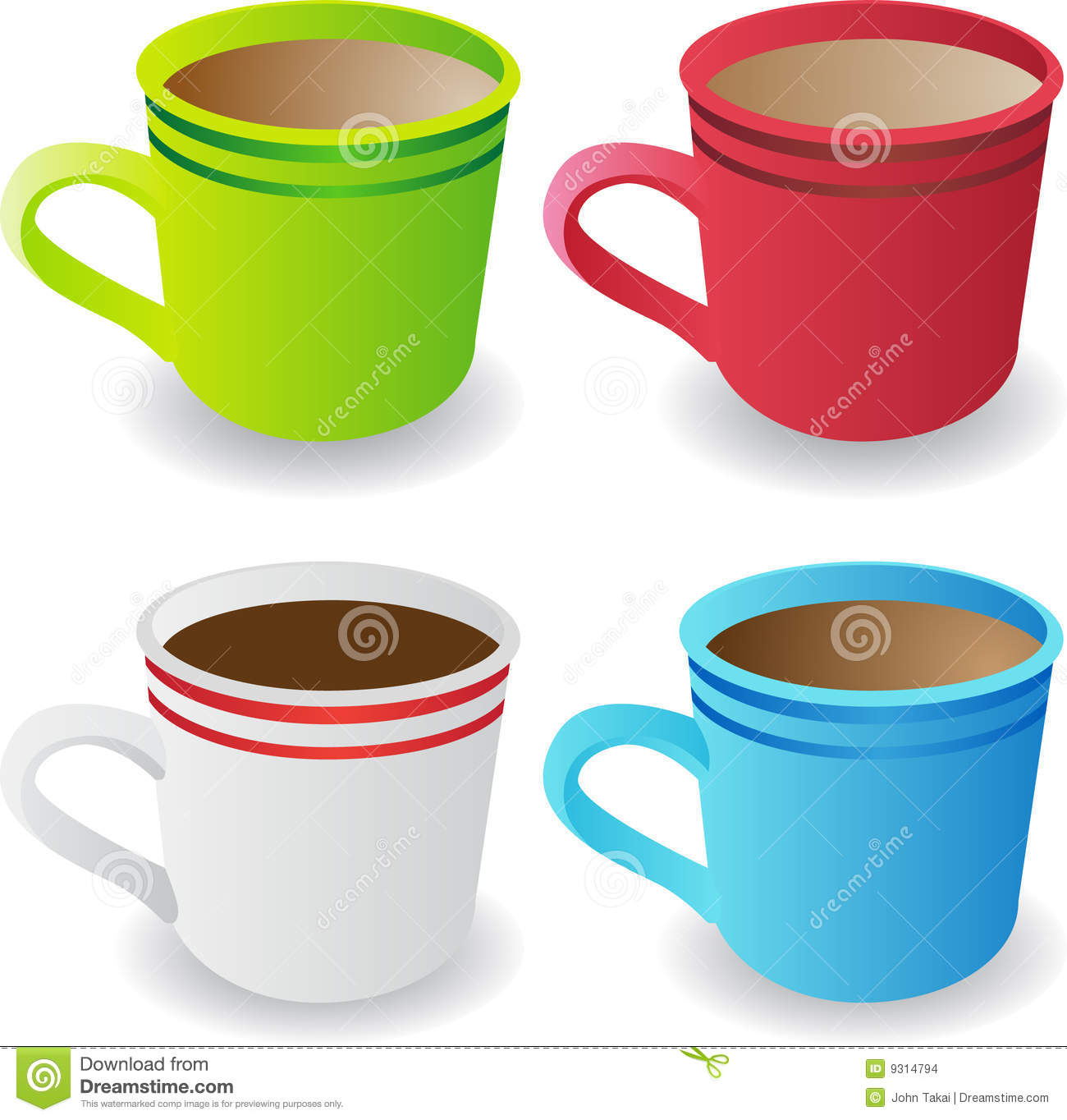 Set of 4 Coffee Cups stock vector. Illustration of ...