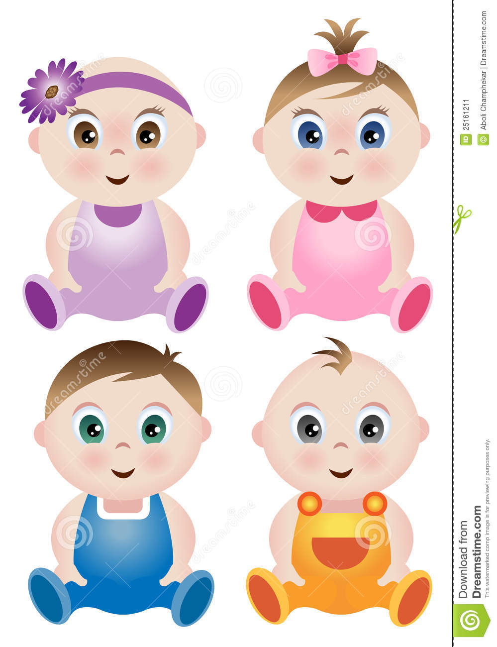 a set of 4 cute babies stock vector illustration of infant 25161211