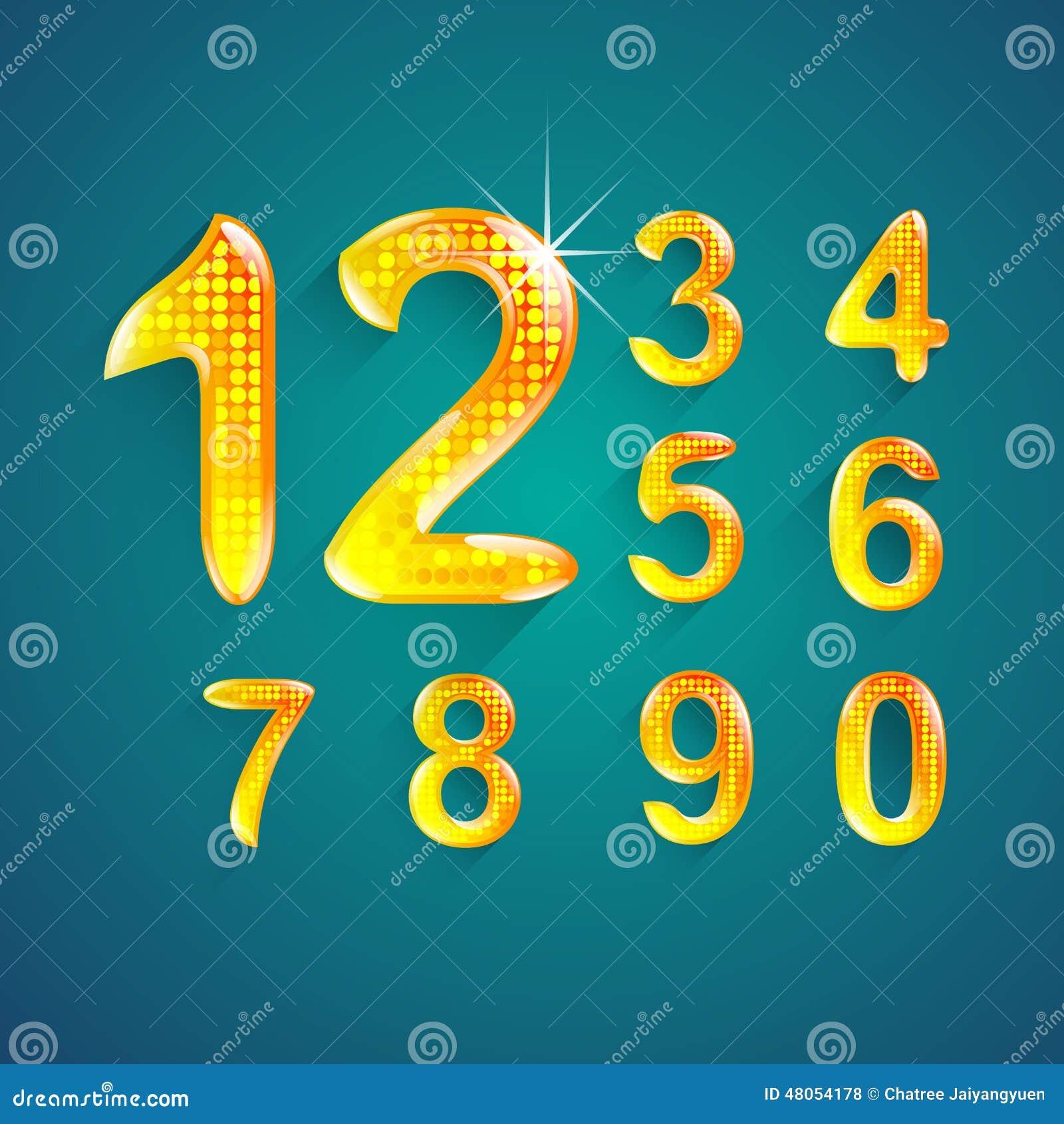 Set abecadło liczb krystaliczni kolory projektuje (0), 9