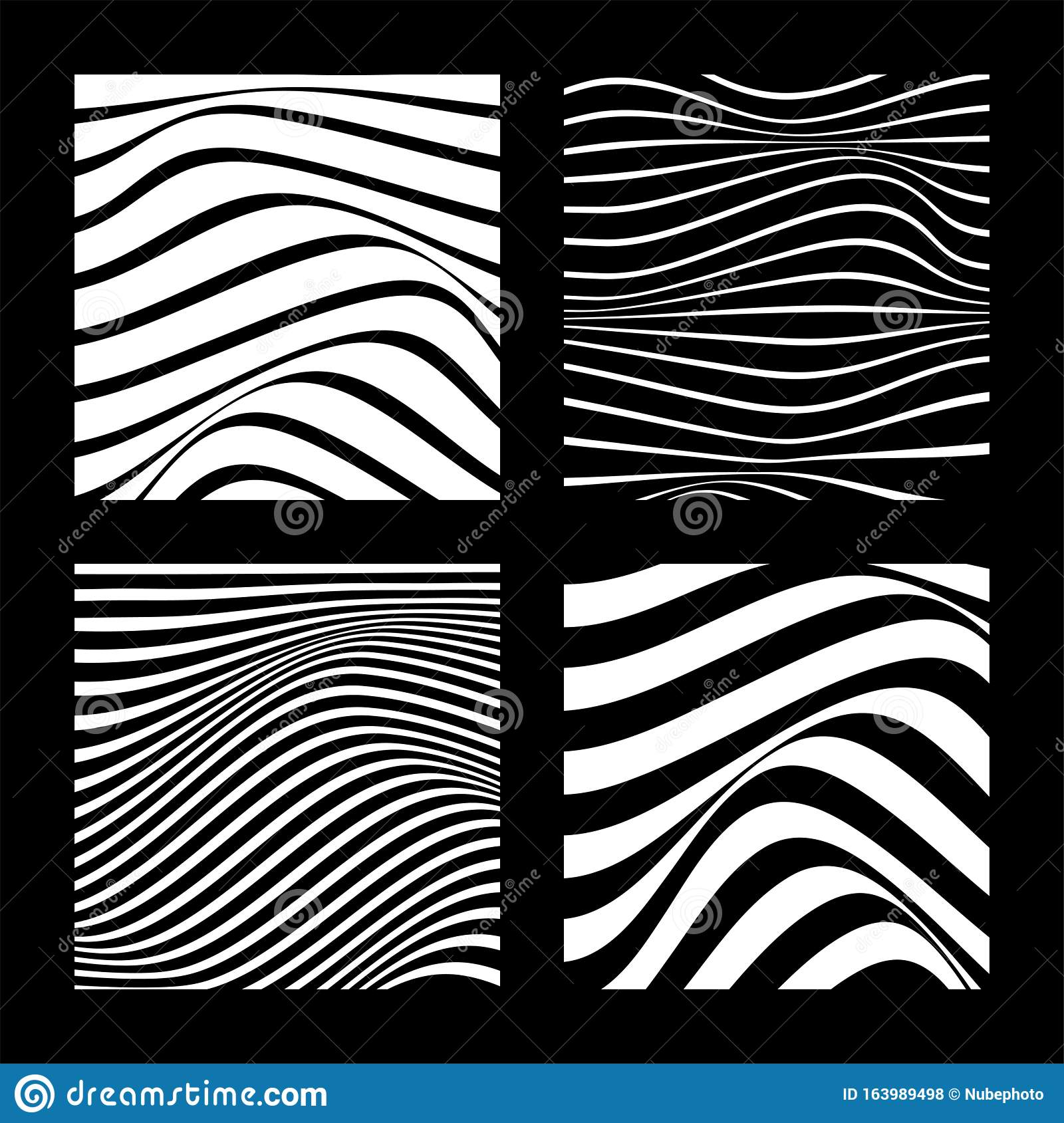 Set Of 4 Abstract Backgrounds With Wavy Lines. Minimalist