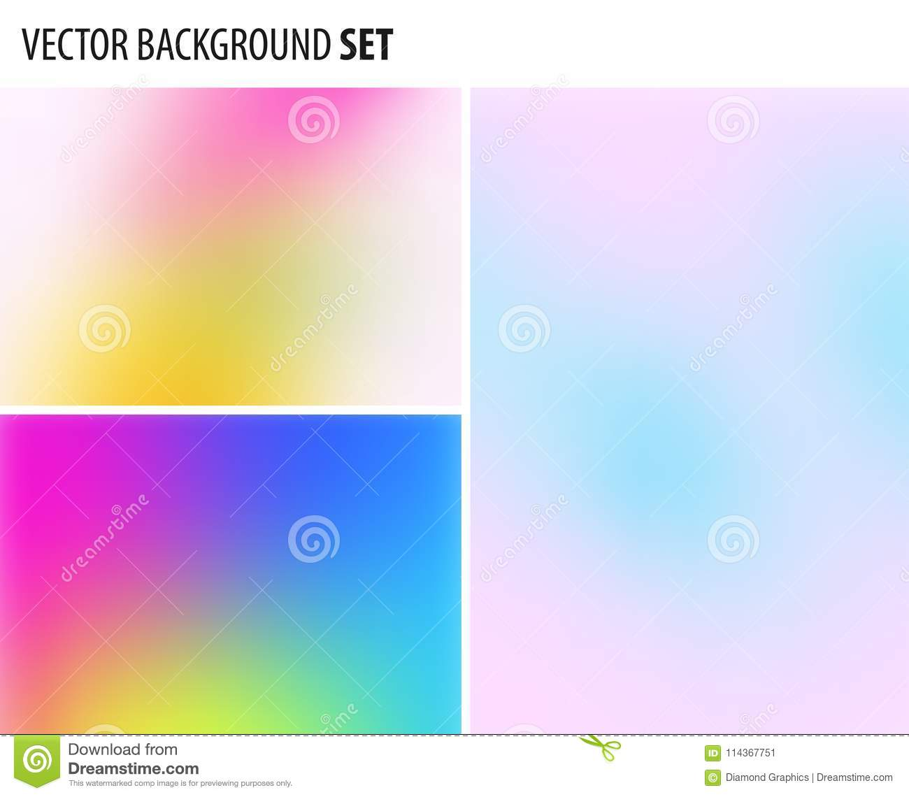 Set of Abstract blurred background design, vector elements for graphic template.