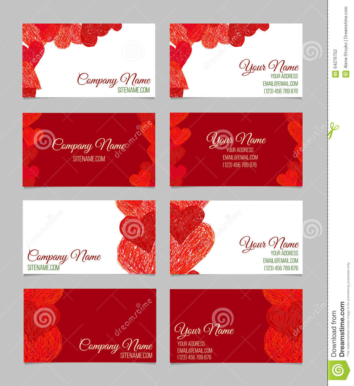 Set Of Abstract Business Cards. Valentines Day Stock Vector ...
