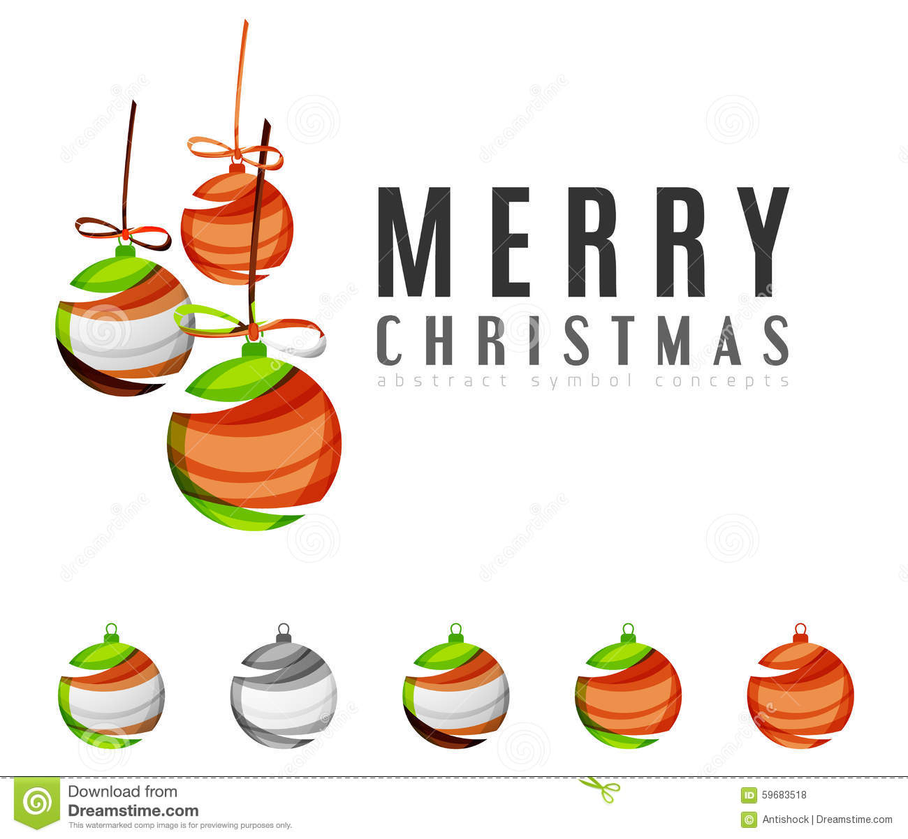 Set of abstract christmas ball icons business stock for Modern cleaning concept