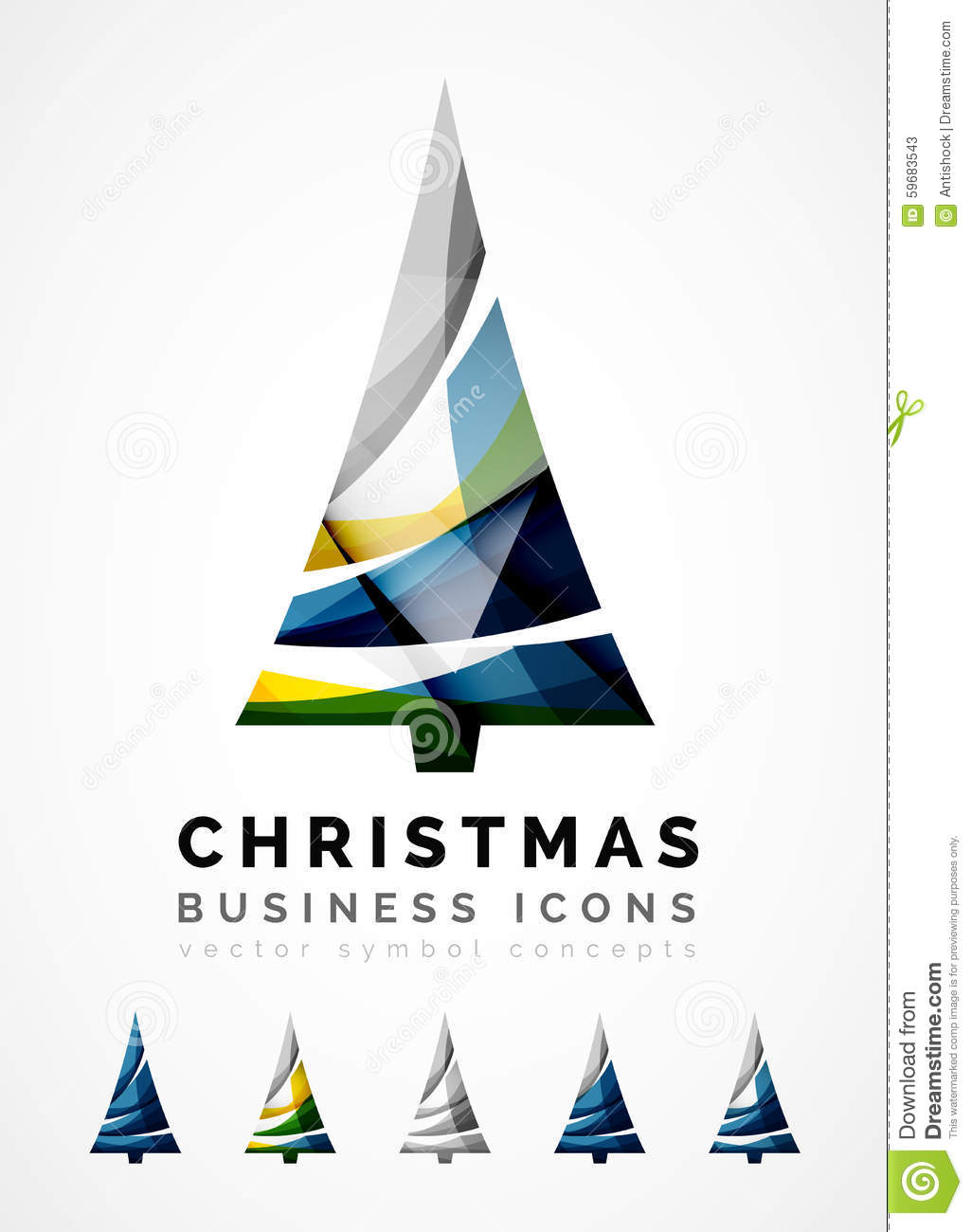 Set of abstract christmas tree icons business stock for Modern cleaning concept