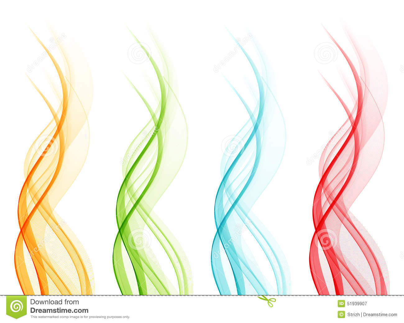 Colour Line Art Design : Set of abstract color wavy lines stock vector