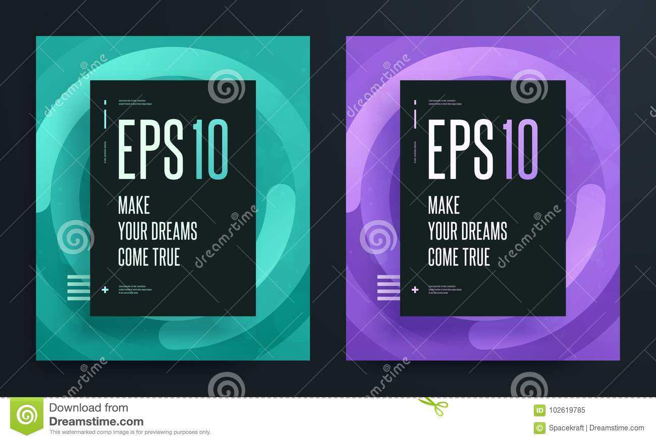 Set of abstract colorful posters with bright clean background color. Eps 10 illustration