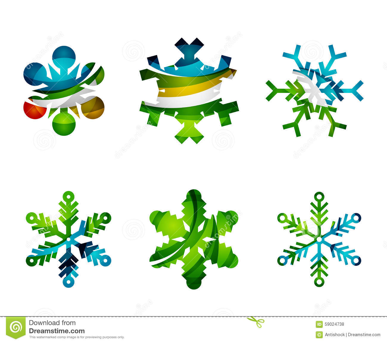 Set of abstract colorful snowflake logo icons stock vector for Modern cleaning concept