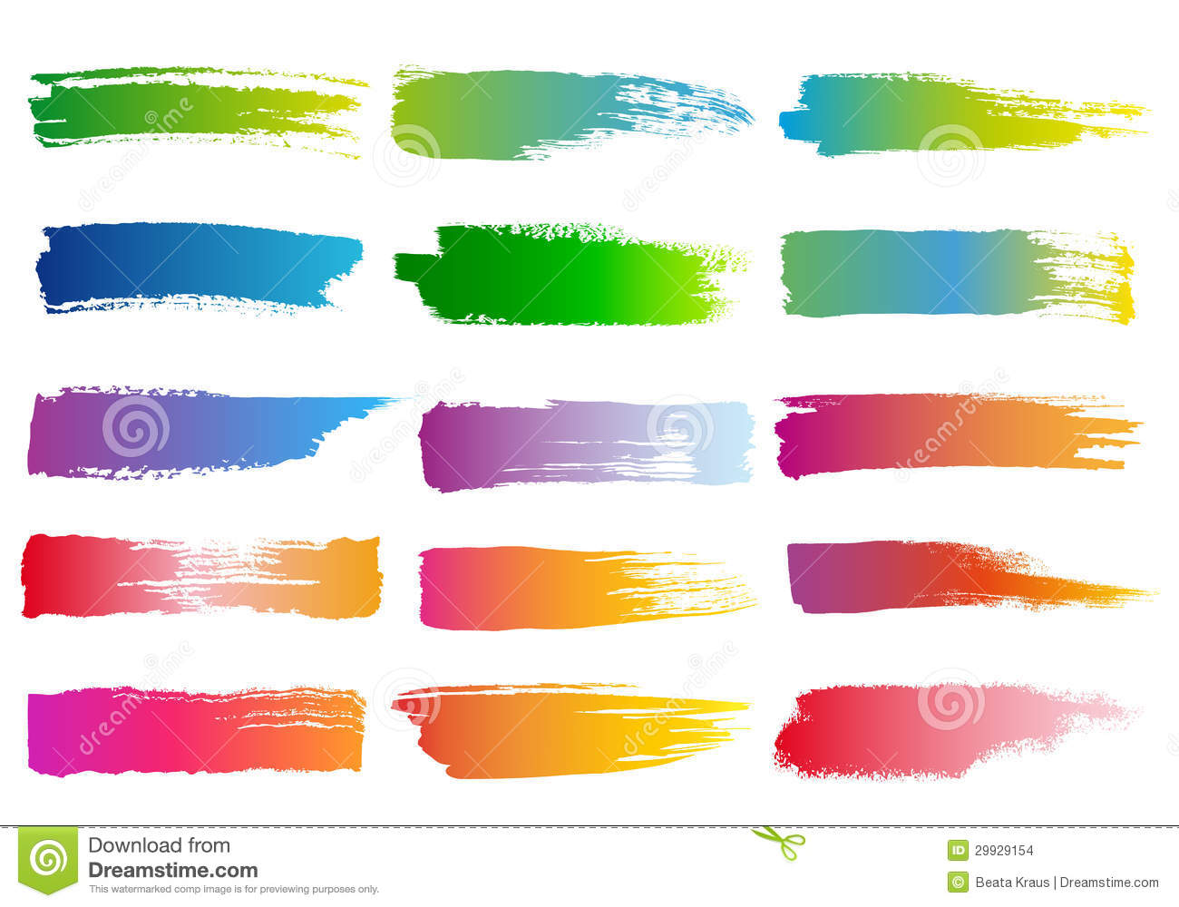 Set Abstract Colorful Watercolor Brush Strokes Vector Design Elements Paintbrush And Brushes Raya