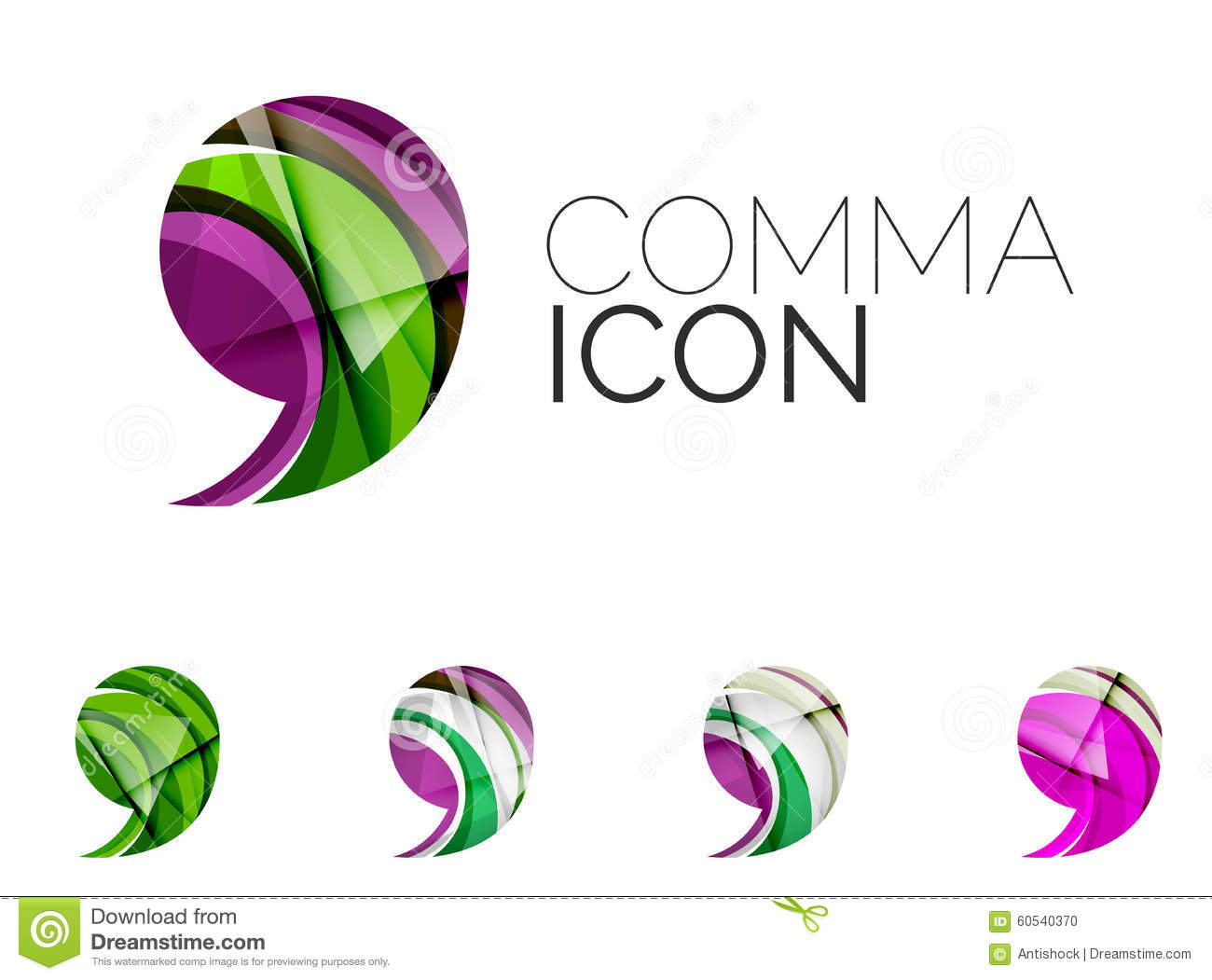 Set of abstract comma icon business logotype stock vector for Modern cleaning concept