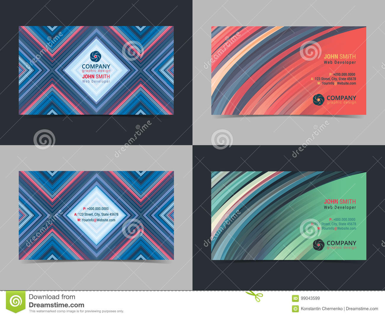 Set Of Abstract Creative Business Card Design Layout Template With