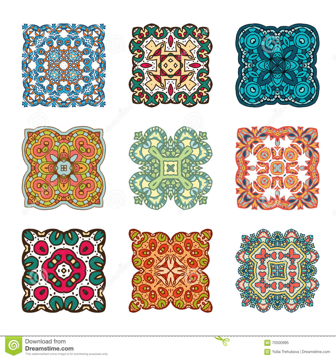Set of abstract design element. Round mandalas in vector. Graphic template for your design. Decorative retro ornament