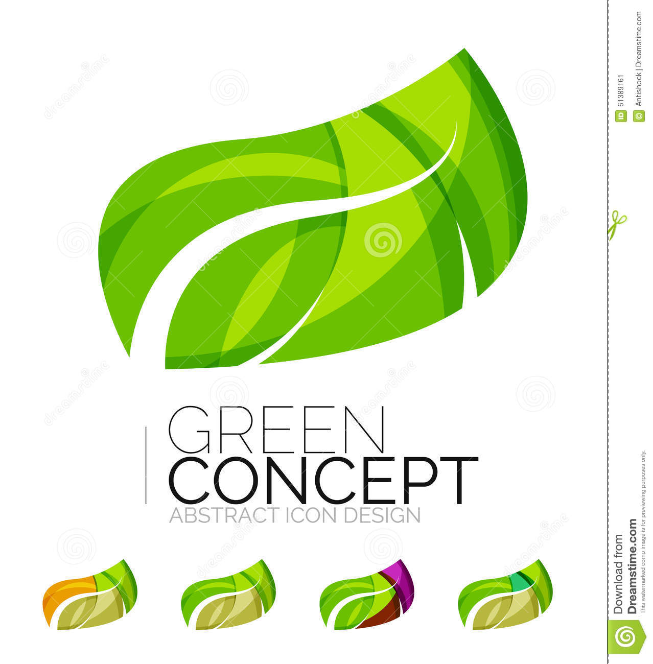 Set of abstract eco plant icons business logotype stock for Modern cleaning concept