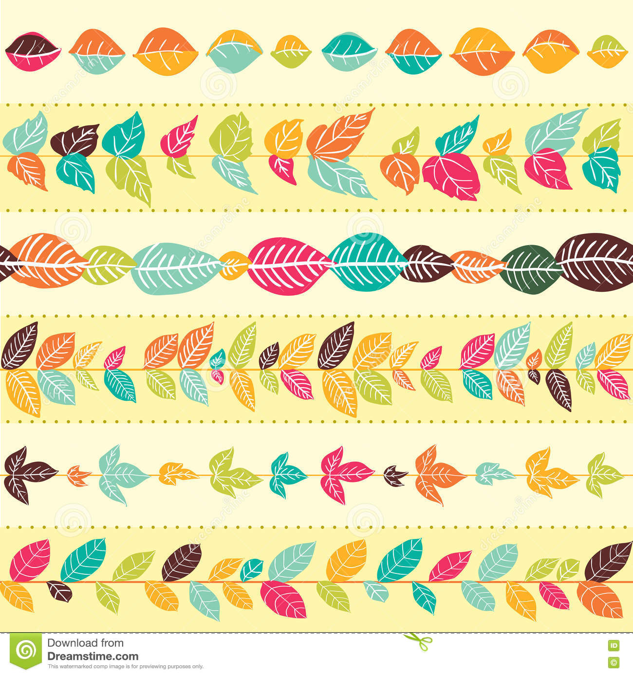 Set of abstract floral seamless brushes.