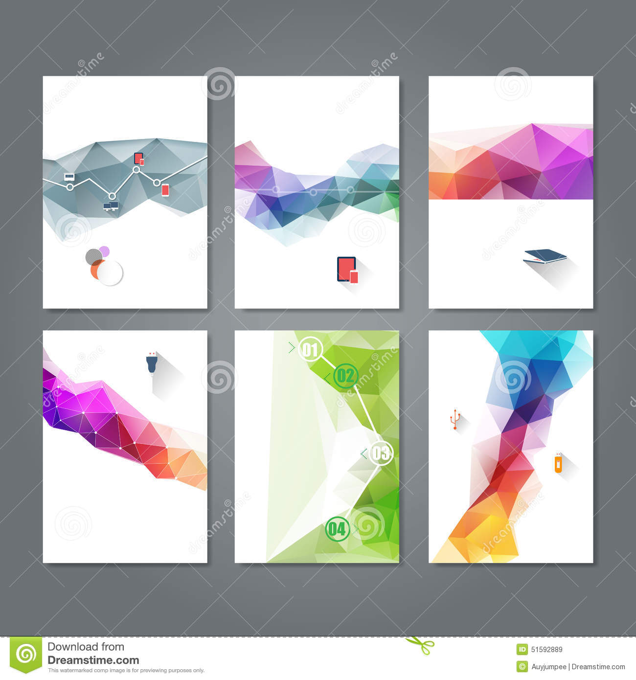 Set Of Abstract Flyer Template Geometric Triangular