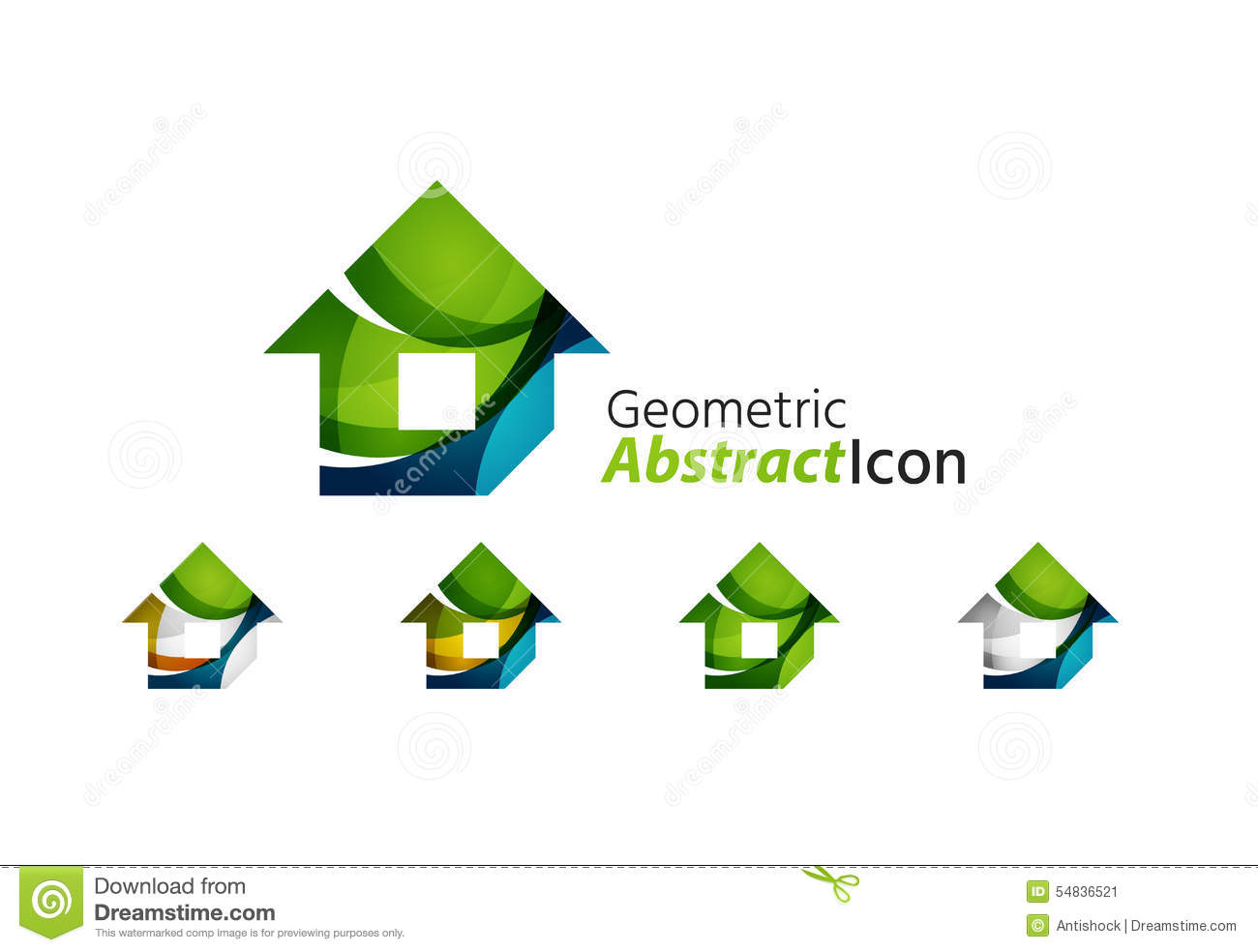 Set Of Abstract Geometric Company Logo Home House Stock