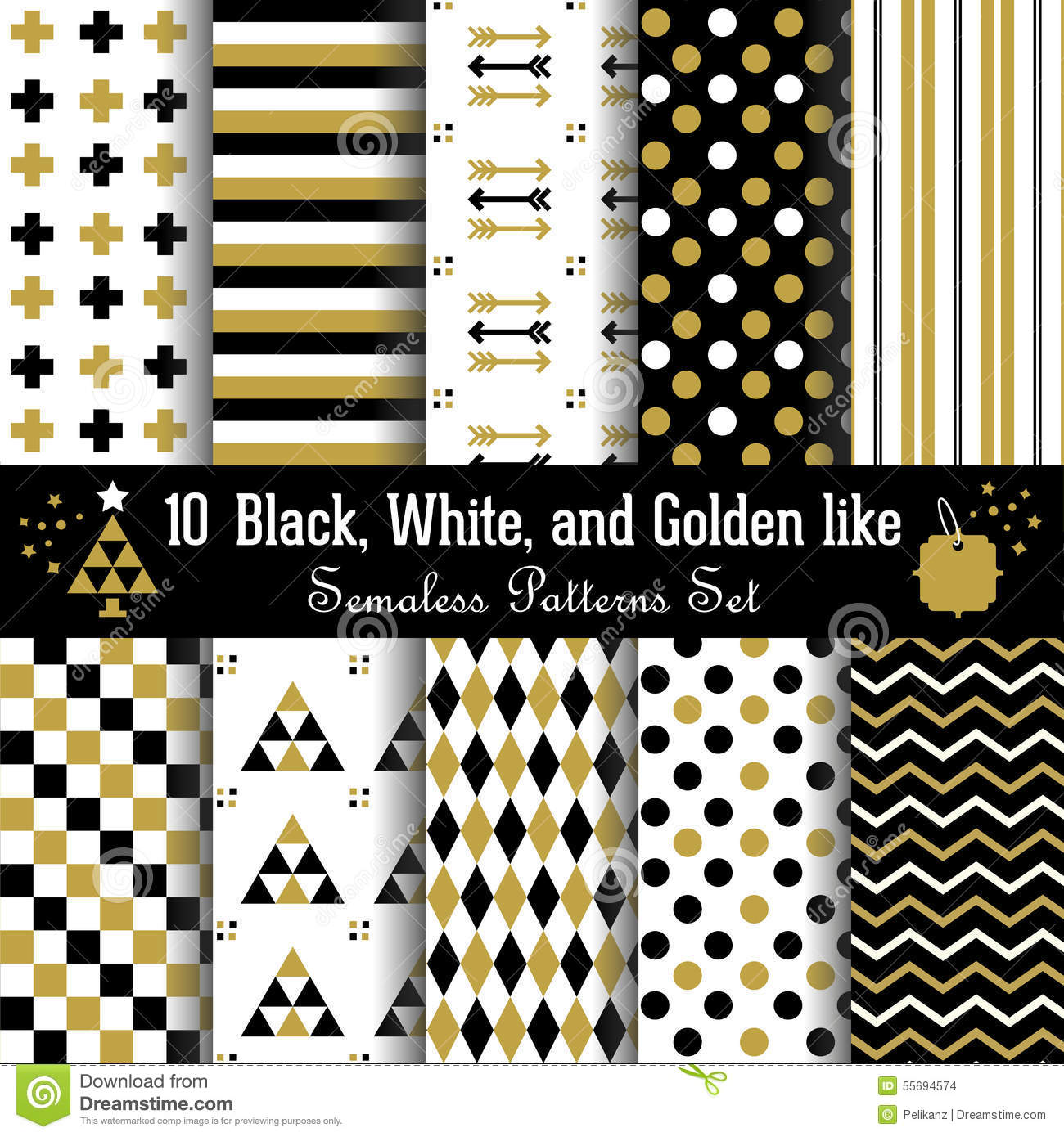 Set of abstract geometrical Aztec seamless patterns