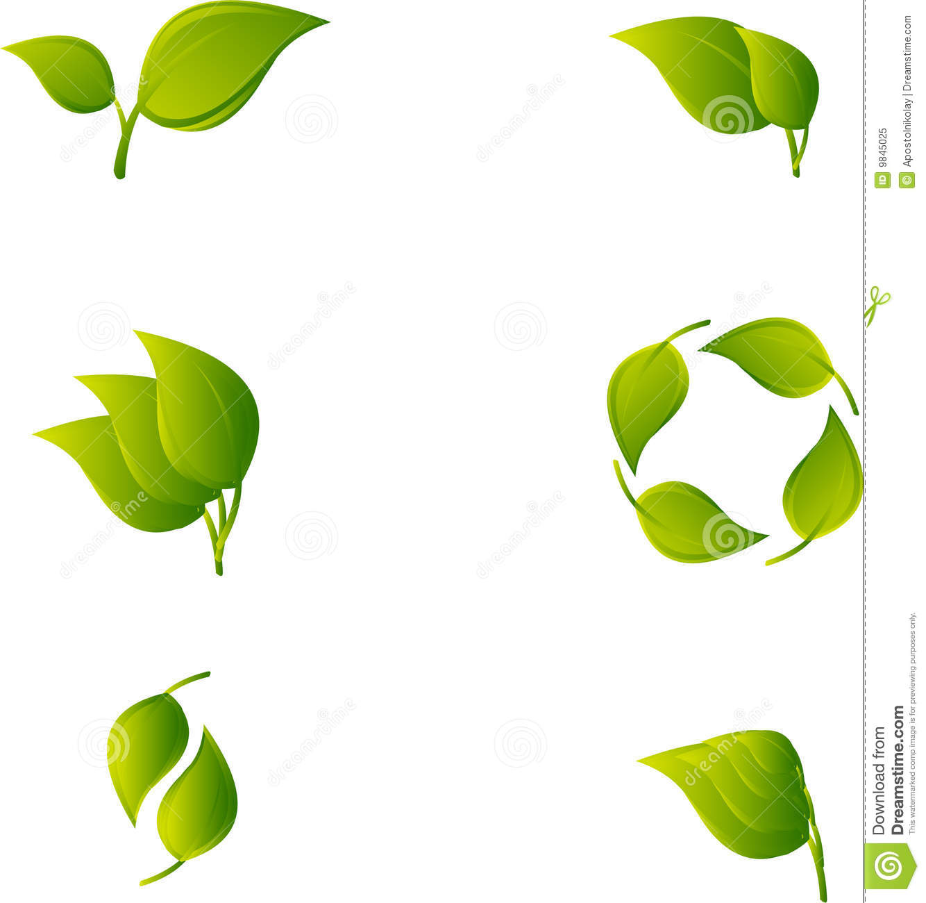 Set Of Abstract Green Leaf Royalty Free Stock Photo