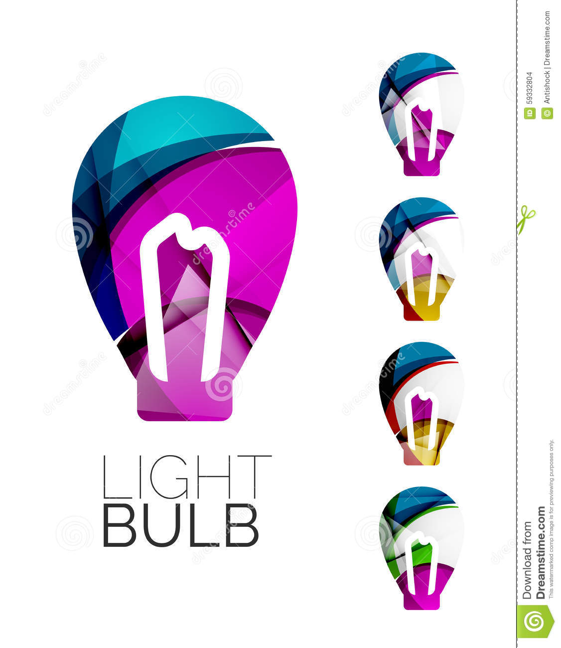 Set of abstract light bulb icons business stock vector for Modern cleaning concept