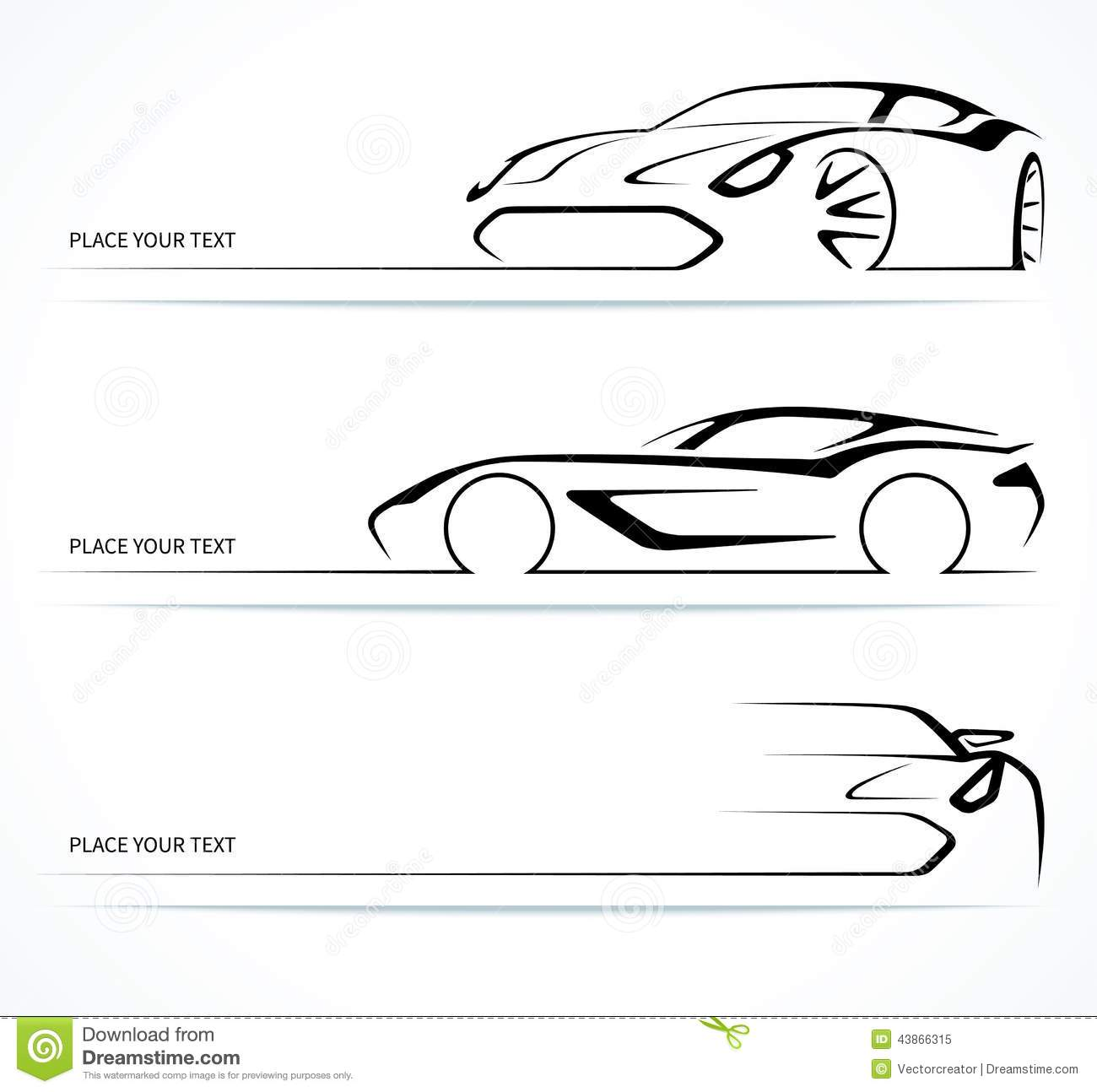 Set Of Abstract Linear Car Silhouettes Stock Vector