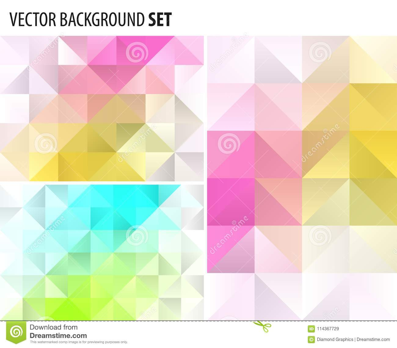 Set of Abstract polygonal background design, vector elements for graphic template.
