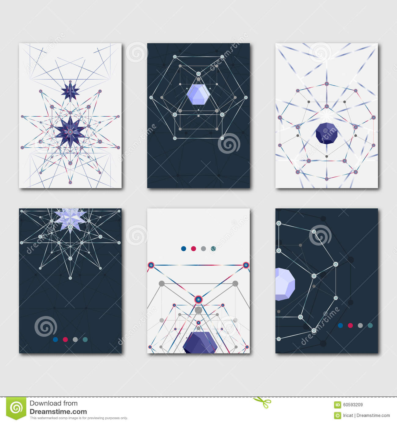 0735ff45030bc6 Set of abstract polygonal template for design business and scientific  brochures, flyers and presentations. Modern stylish graphics banners.
