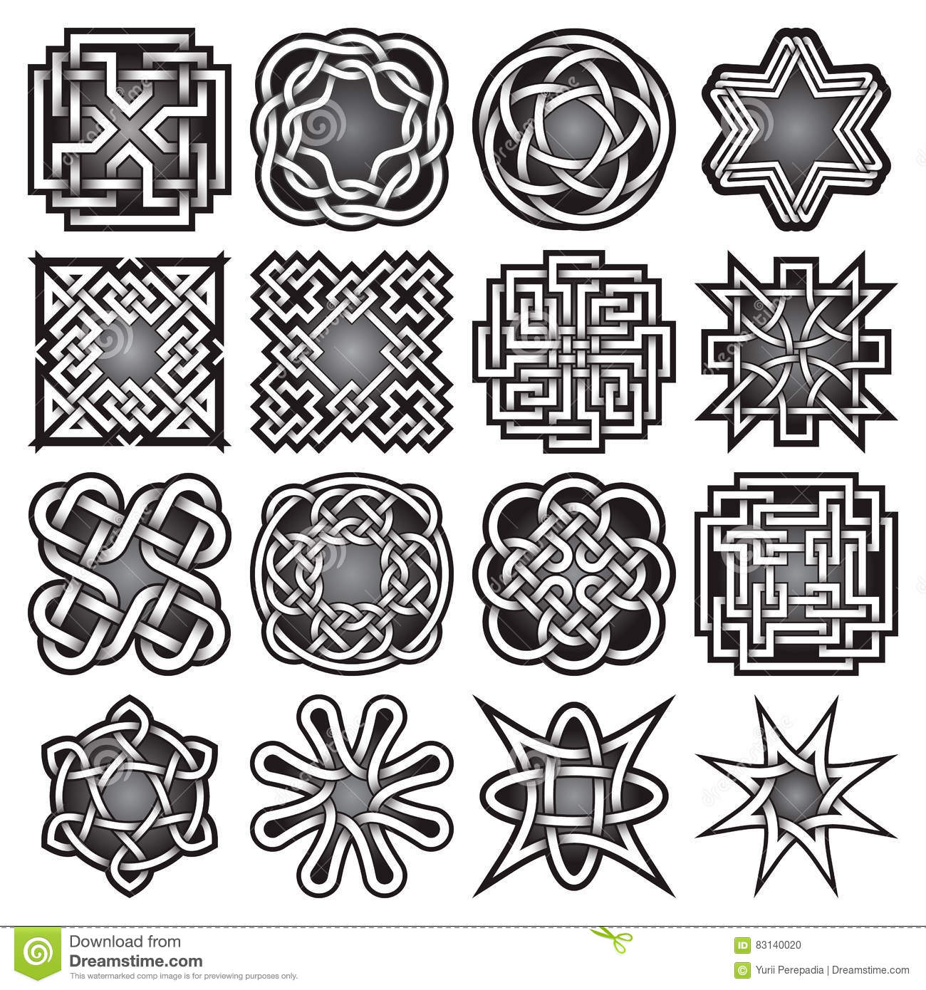 Set of abstract sacred geometry symbols in celtic knots style set of abstract sacred geometry symbols in celtic knots style stock photo buycottarizona