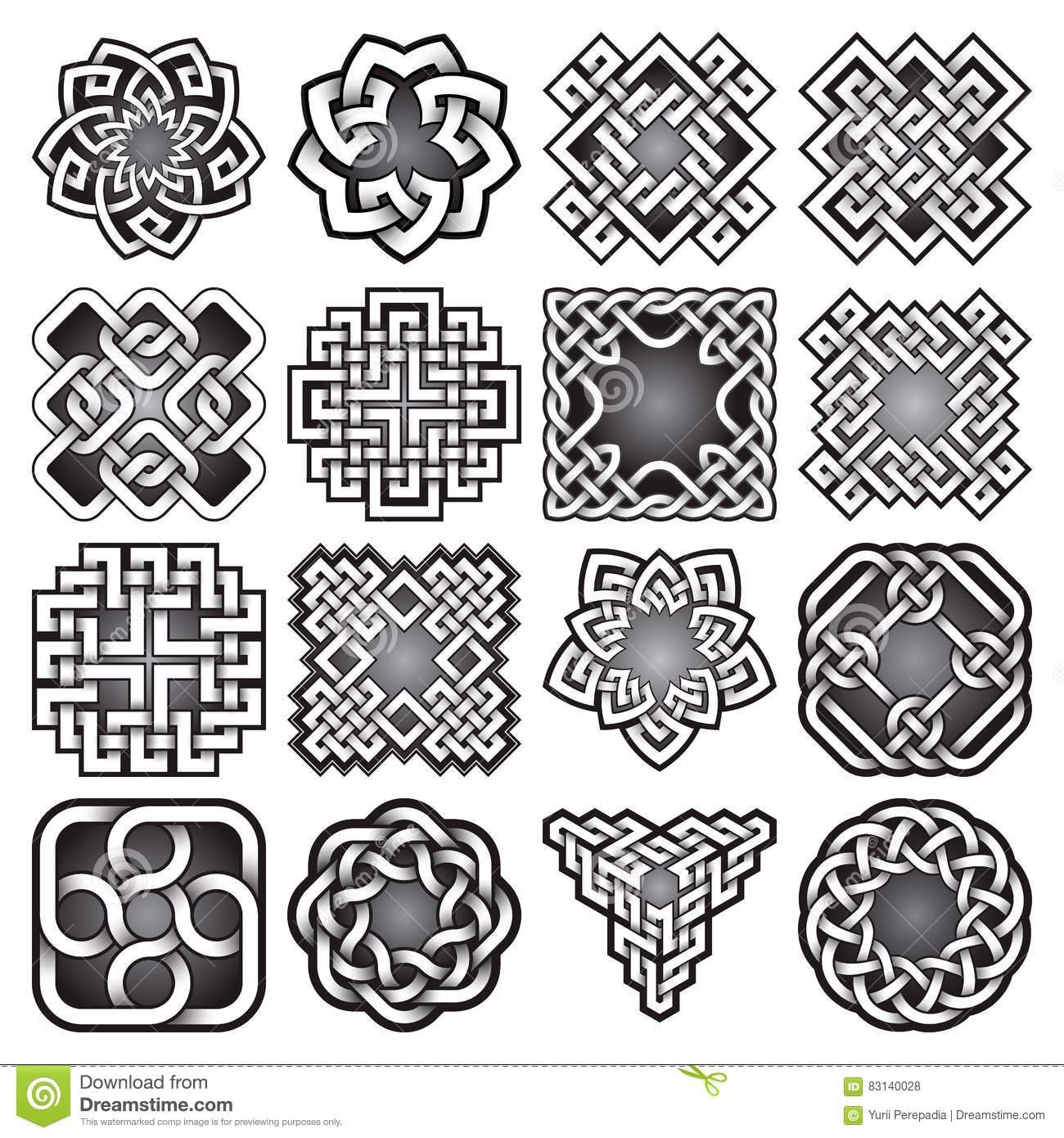 Set of abstract sacred geometry symbols in celtic knots style set of abstract sacred geometry symbols in celtic knots style graphic illustration biocorpaavc Choice Image